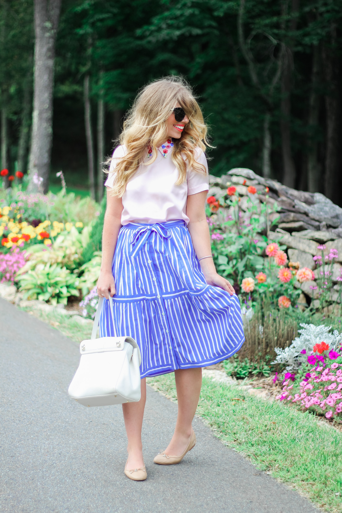 Blue and White Stripe Midi Skirt // Draper James Blush Clementine Top // Louella Reese Life & Style Blog