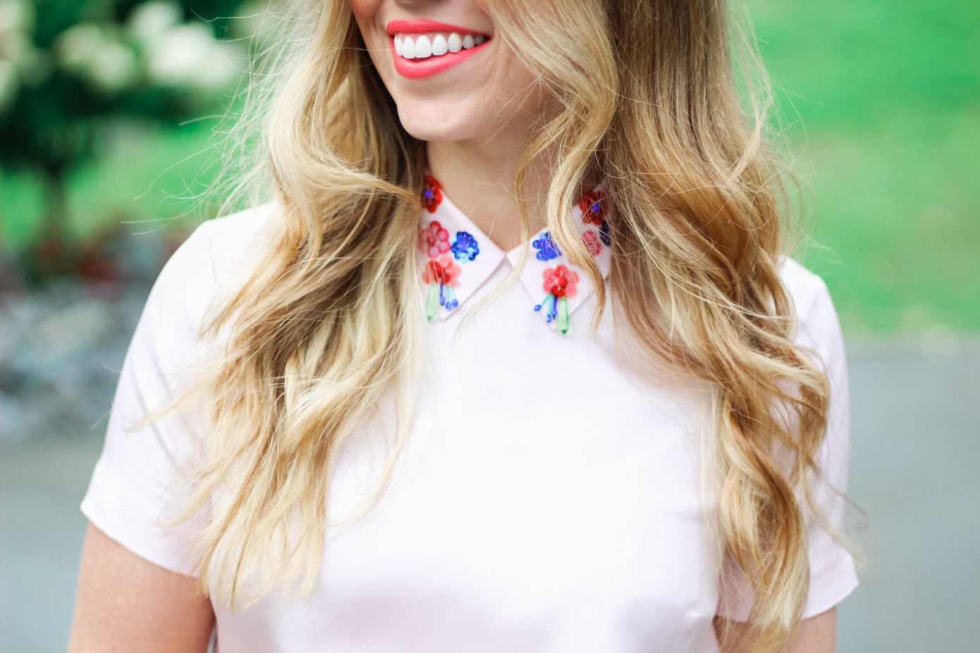 Embellished Collar Blouse // Draper James Blush Clementine Top // Louella Reese Life & Style Blog