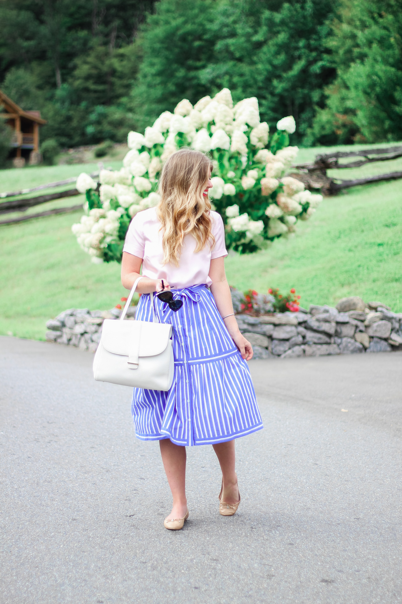 How to Style a Midi Skirt for Fall // Draper James Blush Clementine Top // Louella Reese Life & Style Blog