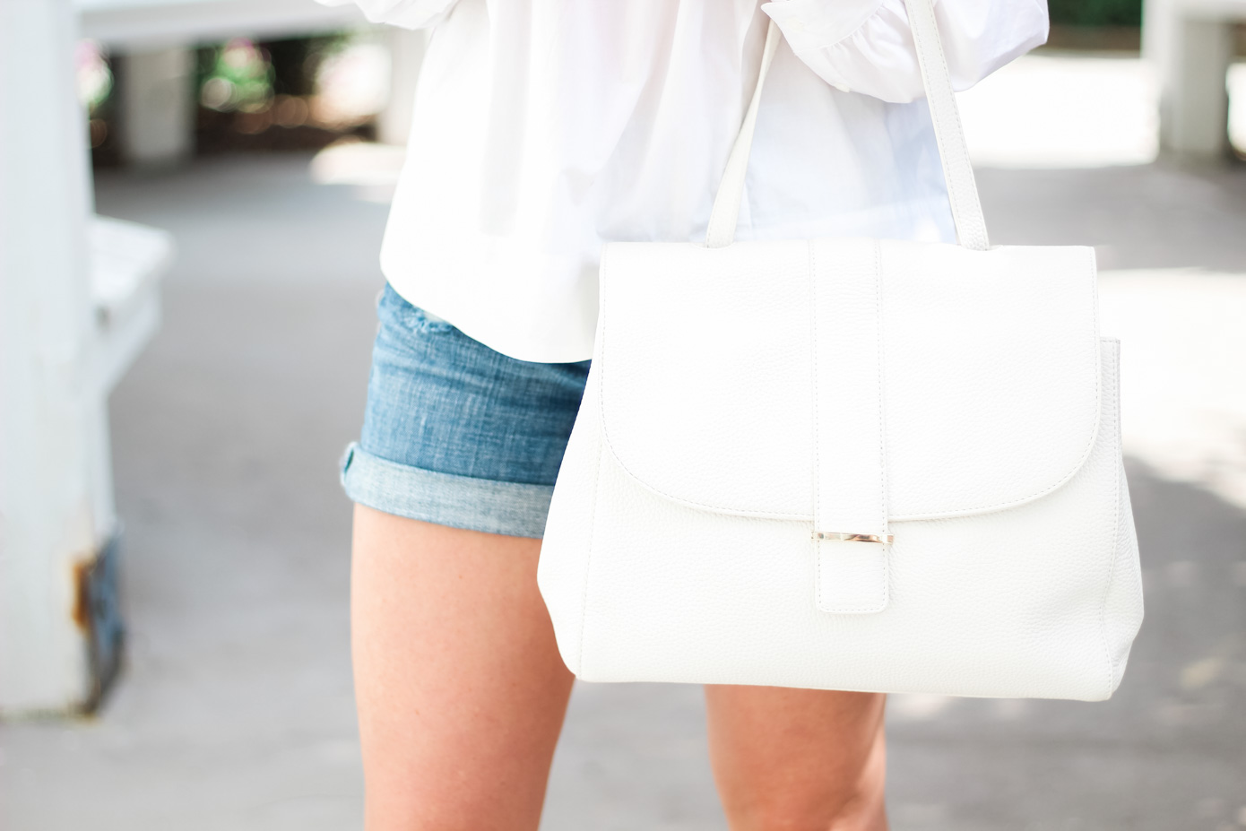 White Ruffle Shirt // Cut Off Shorts Styled for Fall // Louella Reese Life & Style Blog