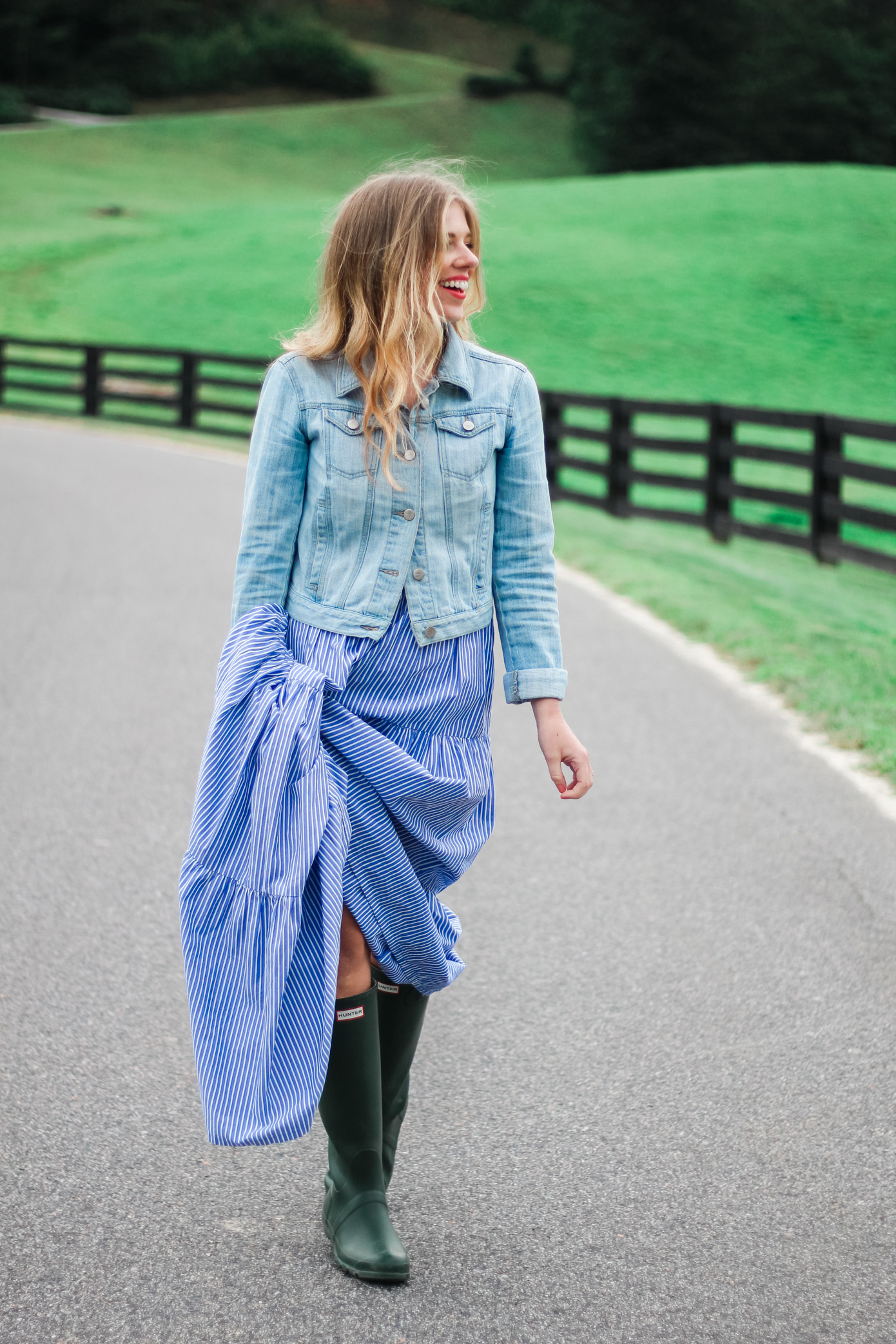 Fall Maxi Dress | How to Style a Maxi Dress with Rain Boots | Louella Reese Life & Style Blog