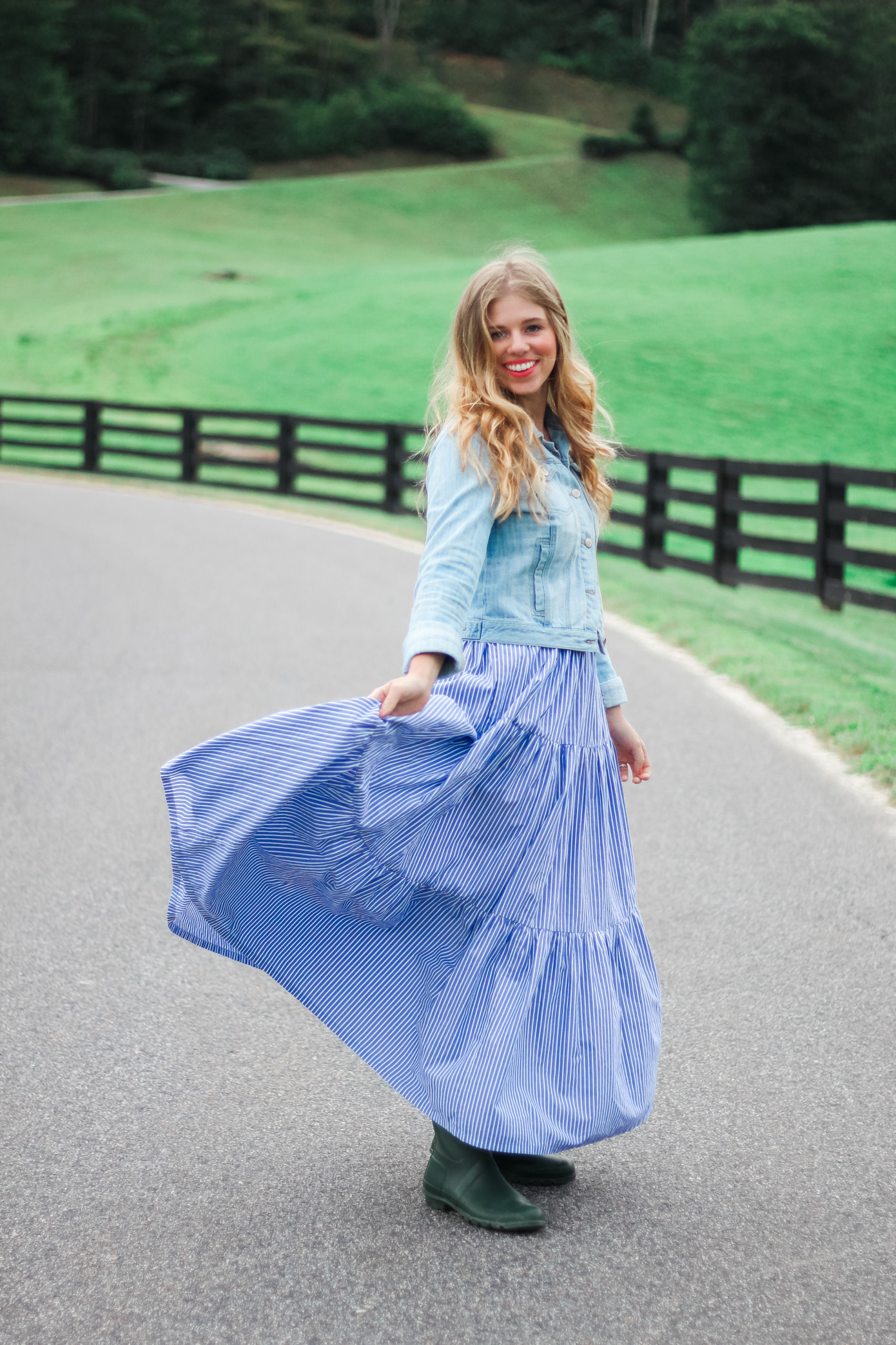 Fall Maxi Dress | Maxi Dress with Rain Boots | Louella Reese Life & Style Blog