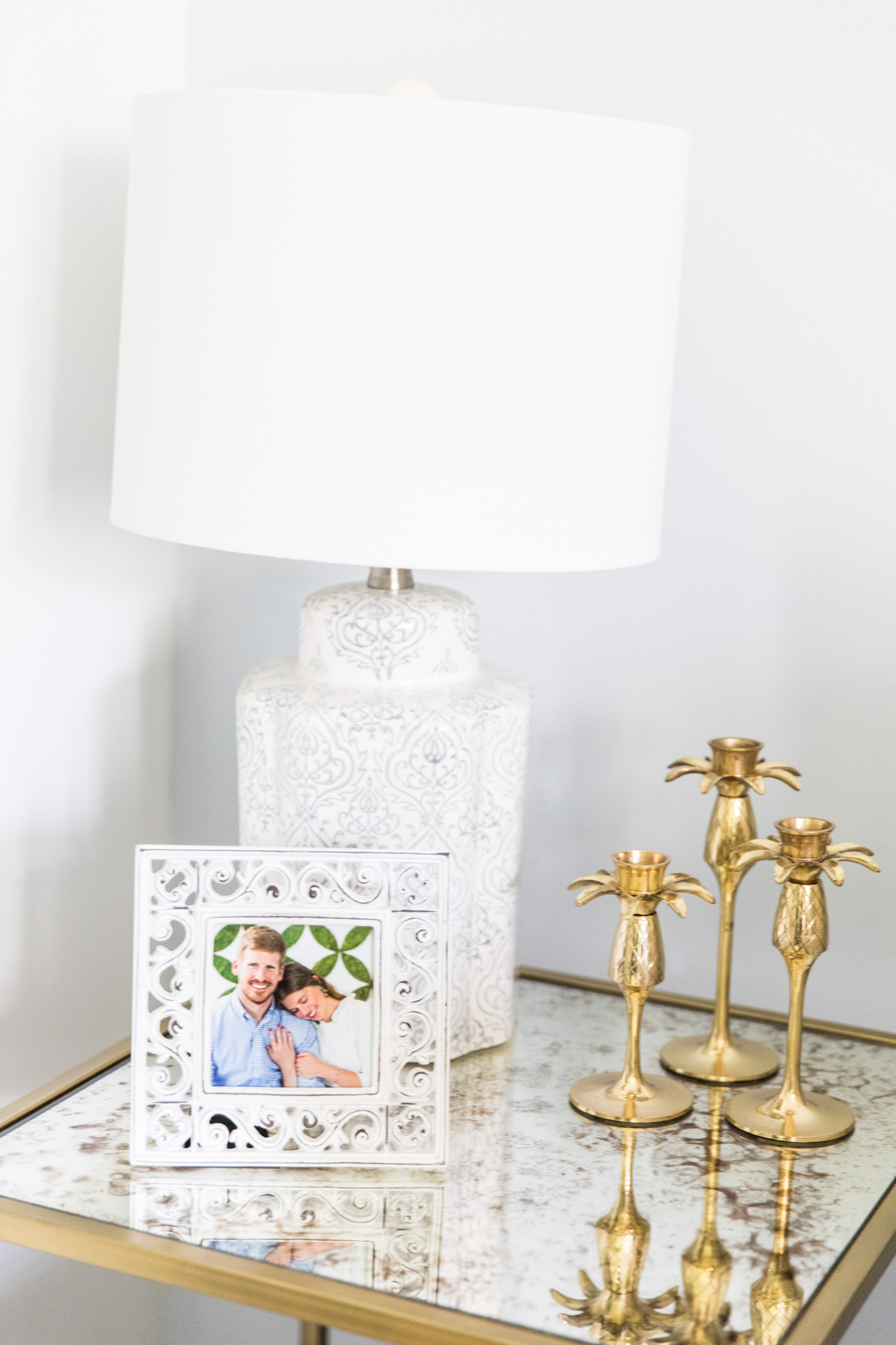 Family Room Decor | Pineapple Candlesticks | Louella Reese Life & Style Blog
