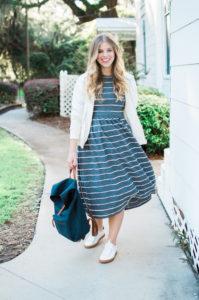 Casual Stripe Midi Dress // St. Simons Island, GA