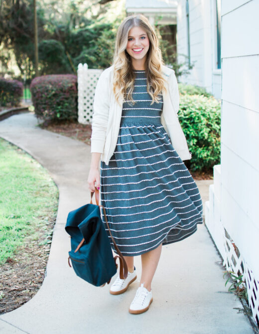 Casual Stripe Midi Dress for Fall | Casual Travel Style | Louella Reese Life & Style Blog