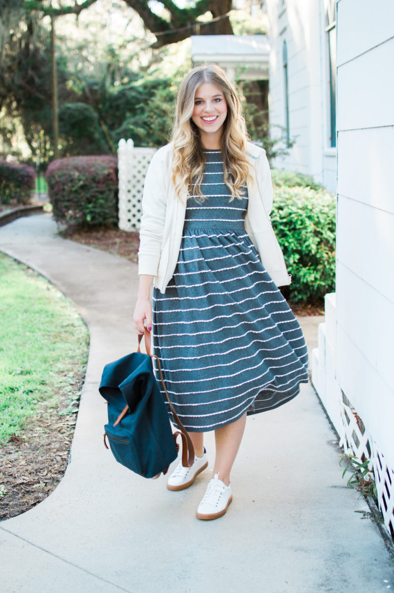 Casual Stripe Midi Dress // St. Simons Island, GA