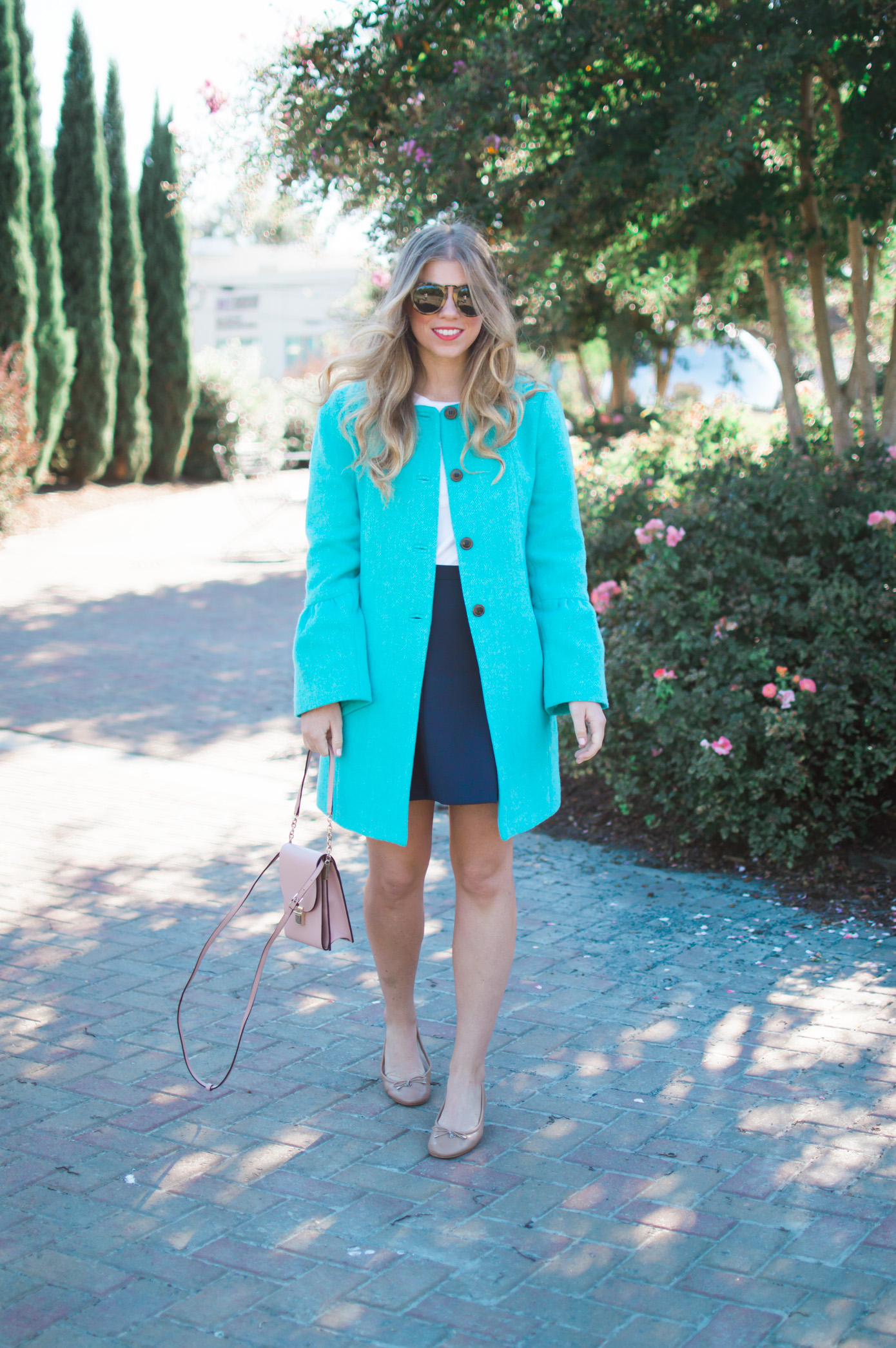 Statement Coat | Turquoise Coat for Fall | Louella Reese Life & Style Blog