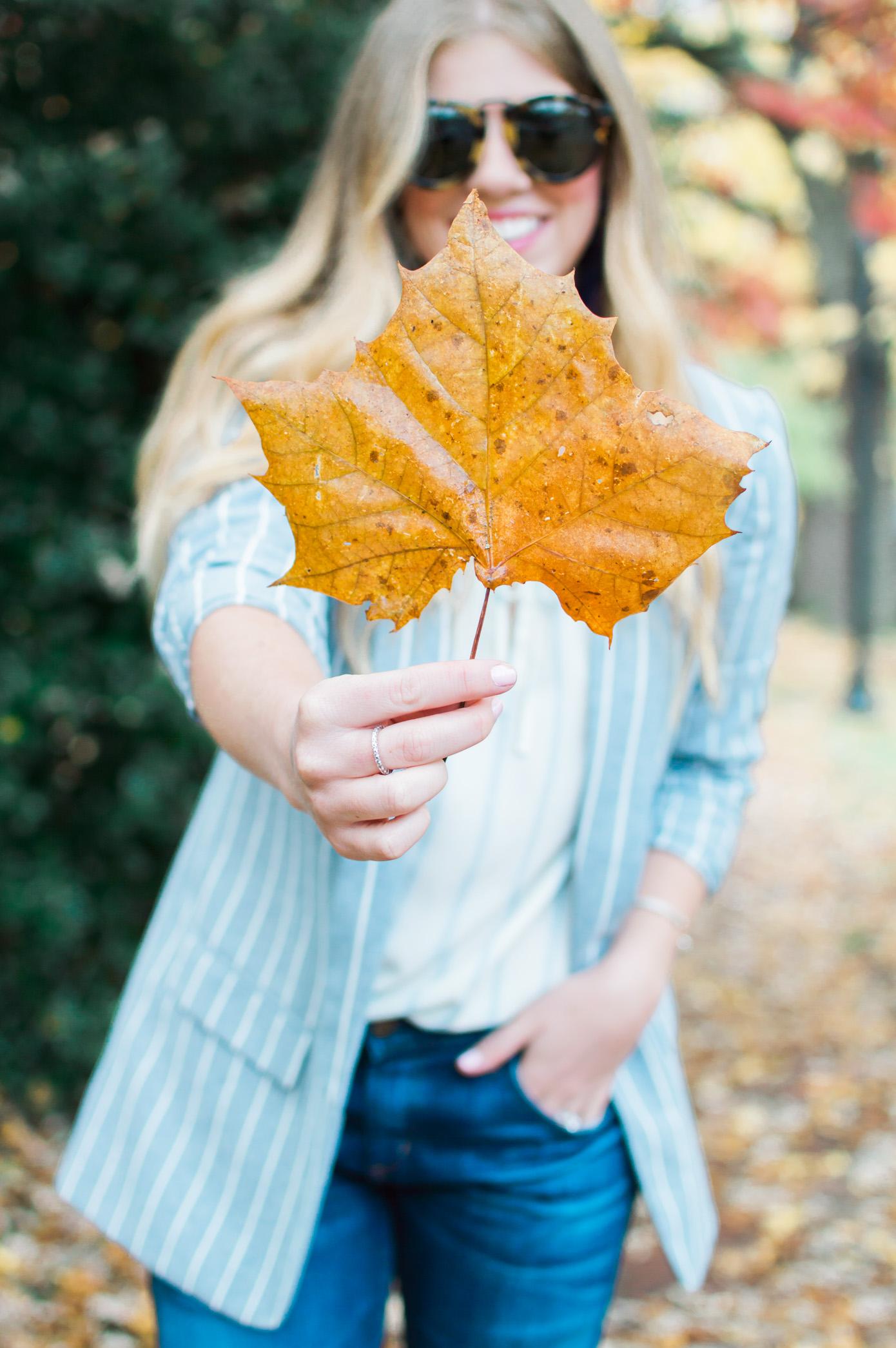 Fall Boyfriend Jeans | Striped Boyfriend Blazer | Louella Reese Life & Style Blog
