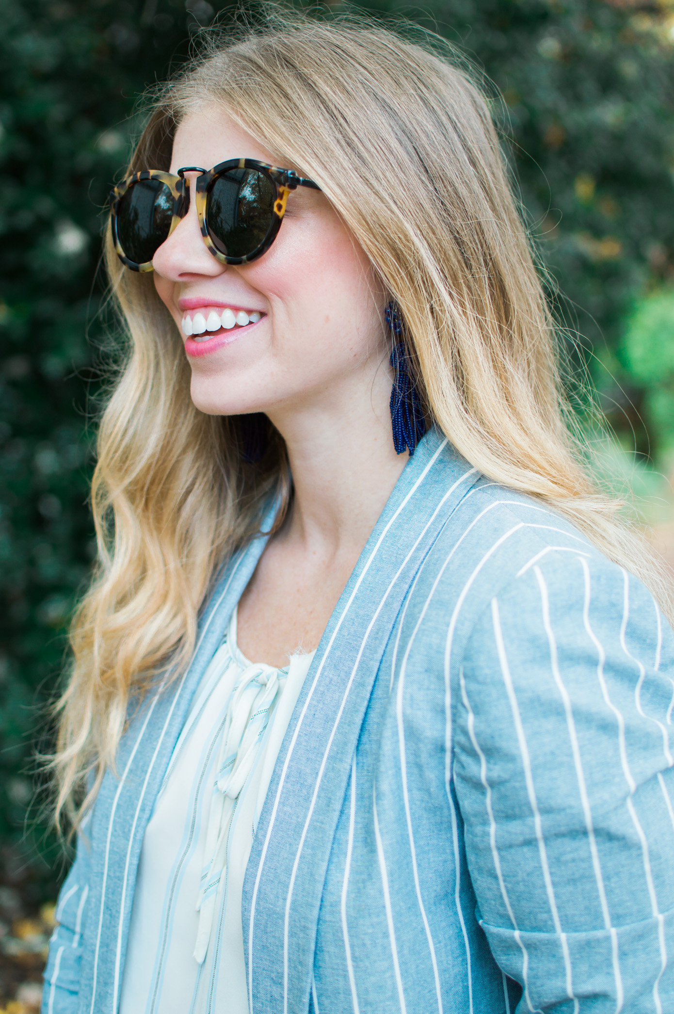 Lisi Lerch Tassel Earrings | Striped Boyfriend Blazer | Louella Reese Life & Style Blog