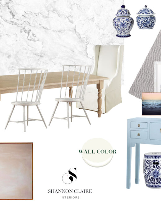 Bright Airy Dining Room Design Board | Marble Wallpaper | Louella Reese Life & Style Blog