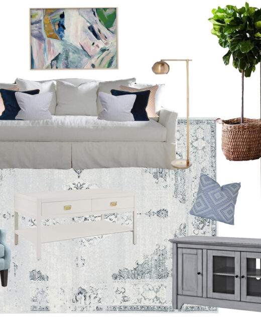 Bright Airy Living Room Design Board | Blue and White Living Room | Louella Reese Life & Style Blog