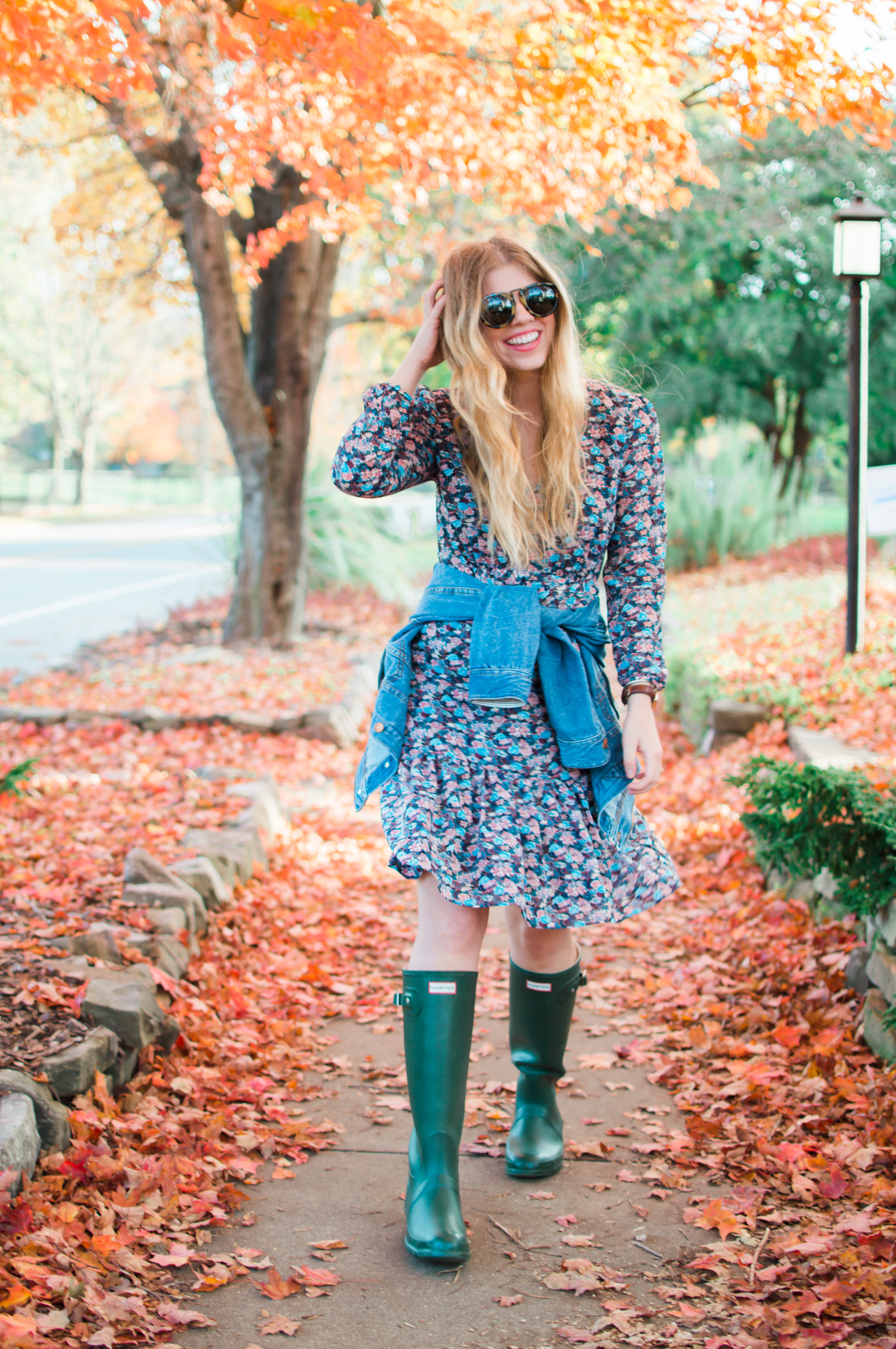 J.Crew Ruffle Hem Dress in Floral Paisley | Dress with Hunter Boots | Louella Reese Life & Style Blog