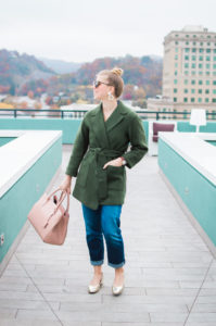 Olive Wrap Coat Dressed Down   Asheville, NC