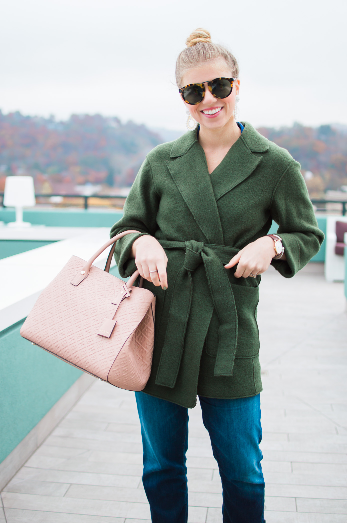 Transitional Wrap Coat | Olive Wrap Coat for Winter | Louella Reese Life & Style Blog