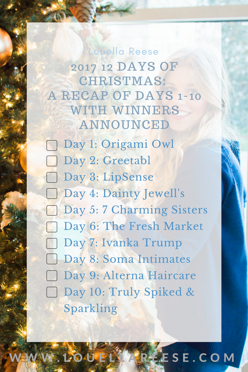 Louella Reese 2017 12 Days of Christmas Giveaway Recap: Days 1-10 | Louella Reese Life & Style Blog