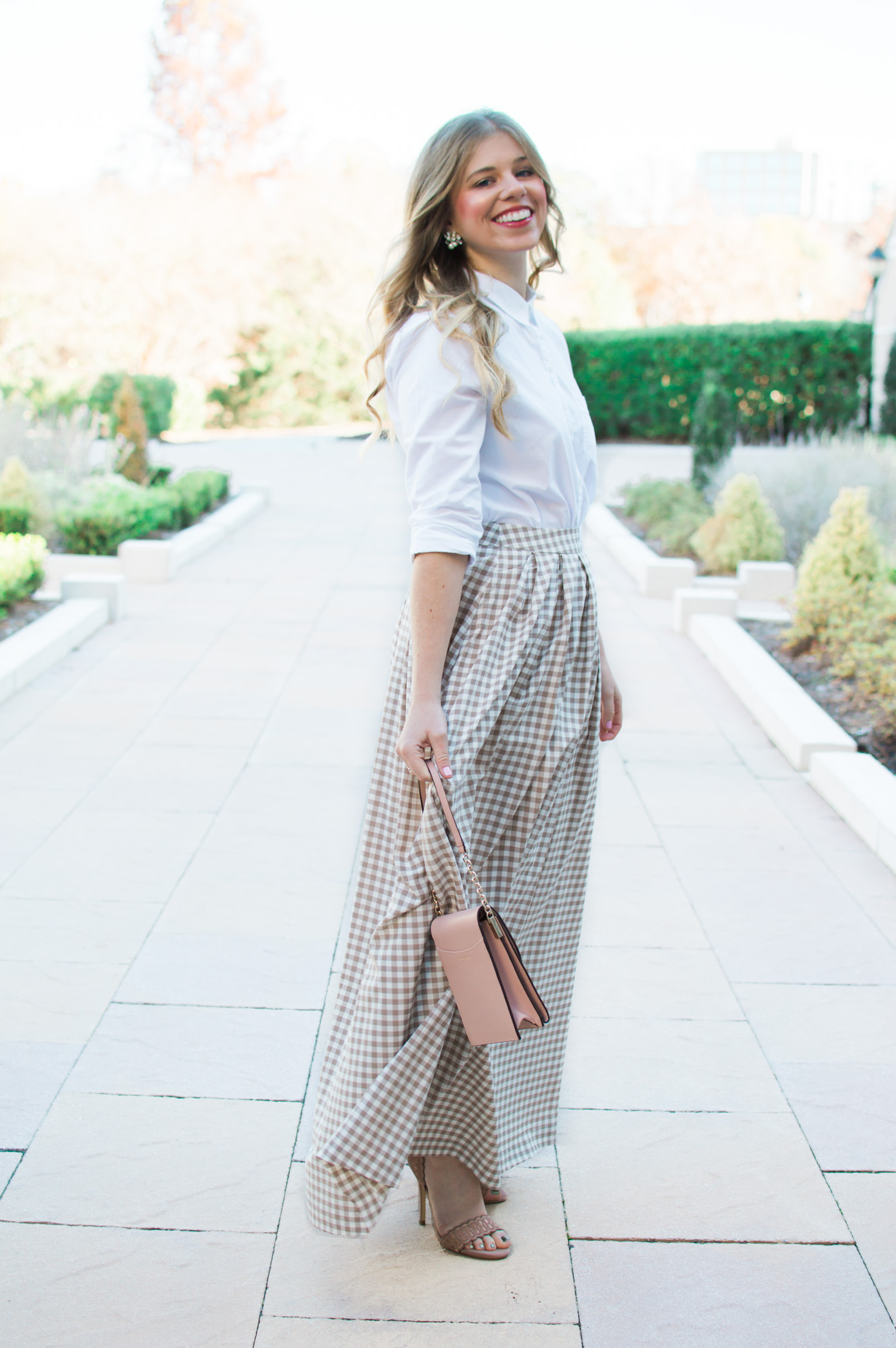 Gingham Maxi Skirt | Holiday Party Outfit Idea | Louella Reese Life & Style Blog
