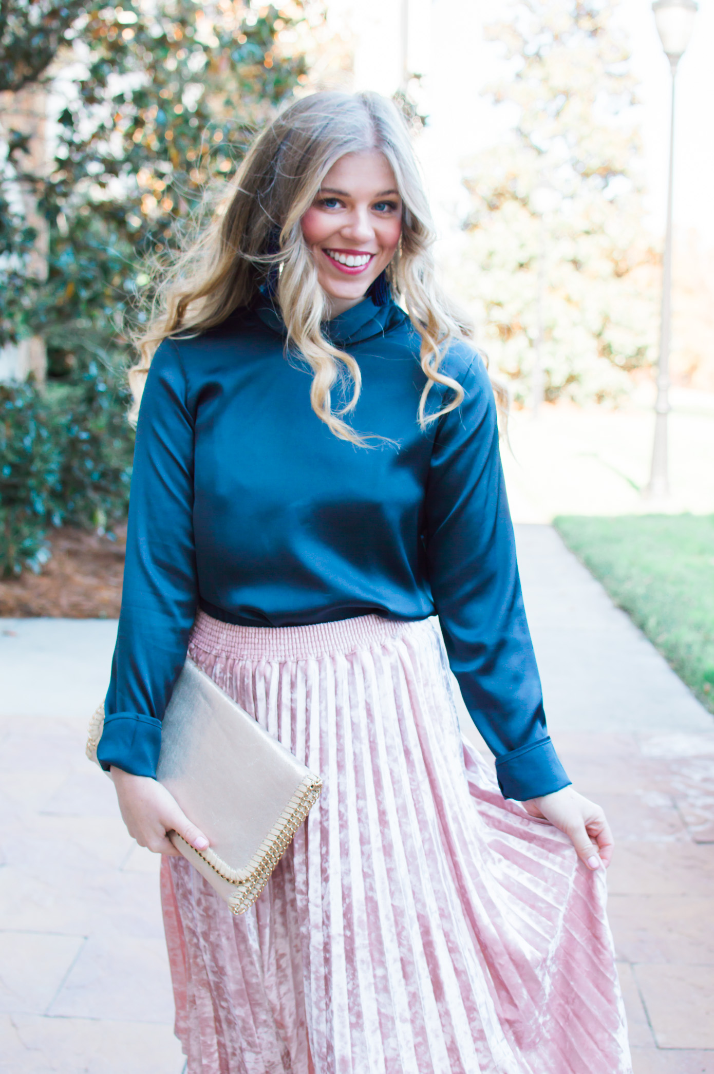 Velvet Midi Skirt | Holiday Party Outfit Idea | Louella Reese Life & Style Blog