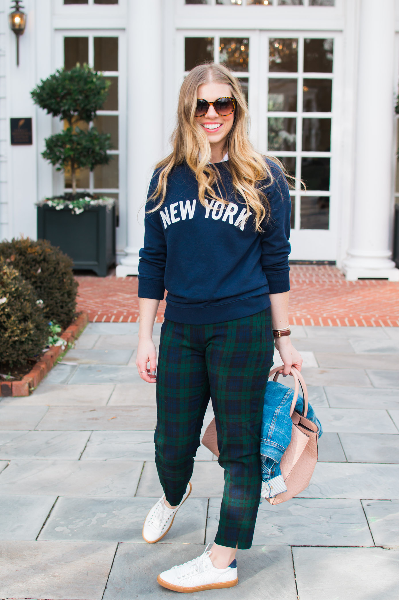 Casual Plaid Pants | New York Sweatshirt | Louella Reese Life & Style Blog