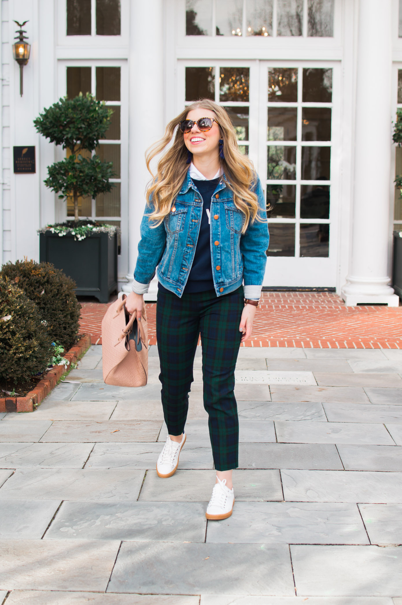 Casual Plaid Pants | Denim Jacket Styled for Winter | Louella Reese Life & Style Blog
