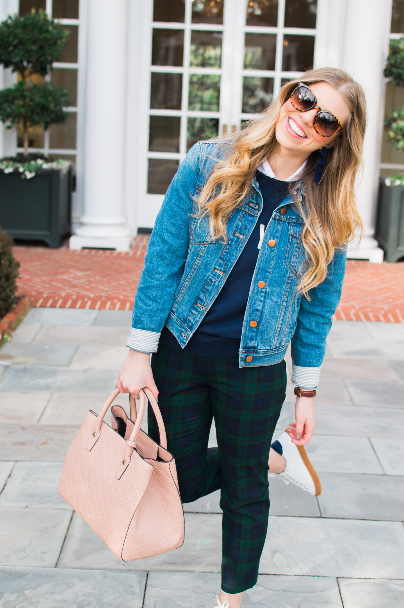 Casual Plaid Pants | Perfect Denim Jacket for Winter | Louella Reese Life & Style Blog