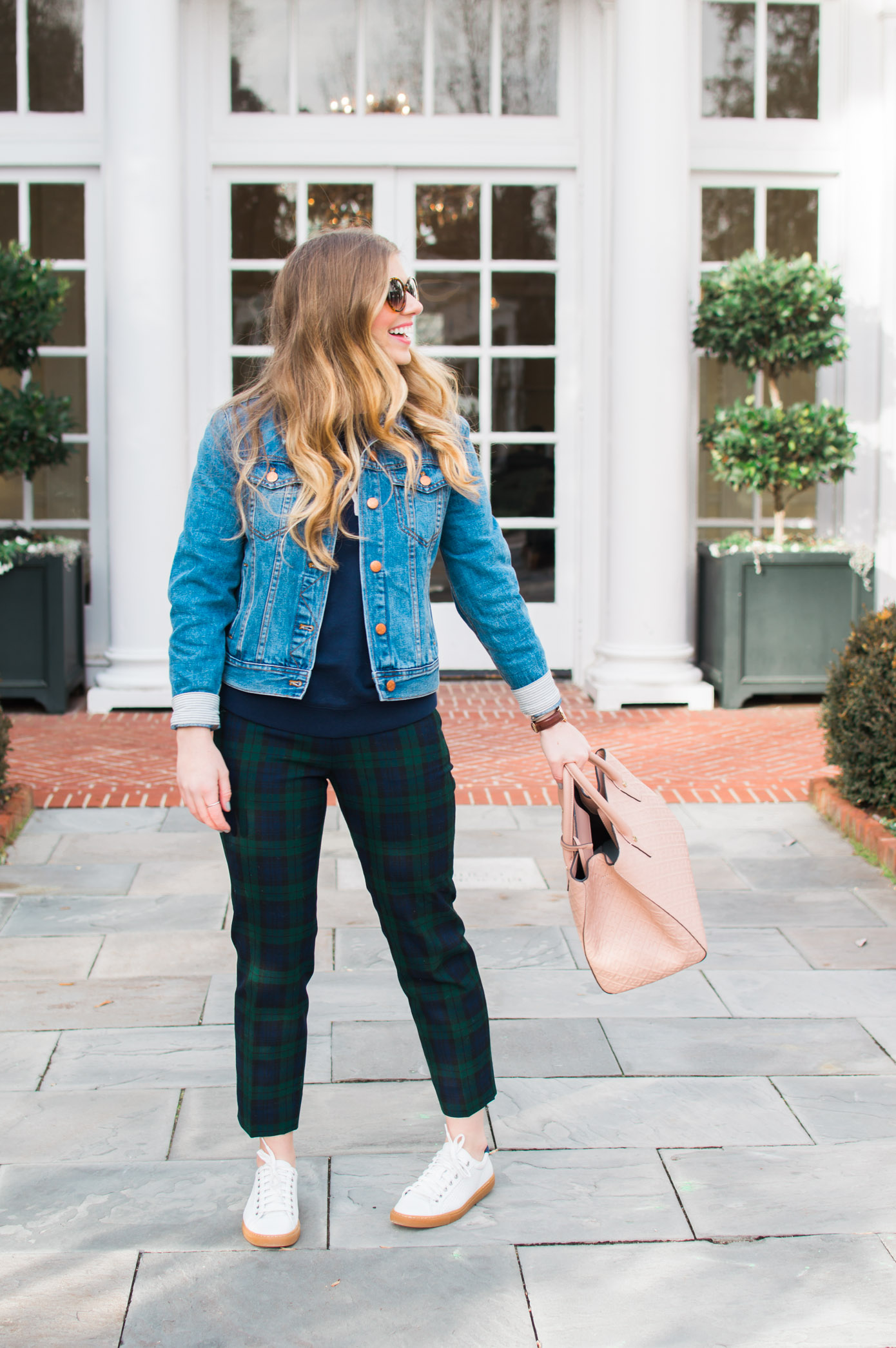 Casual Plaid Pants | Perfect Denim Jacket | Louella Reese Life & Style Blog