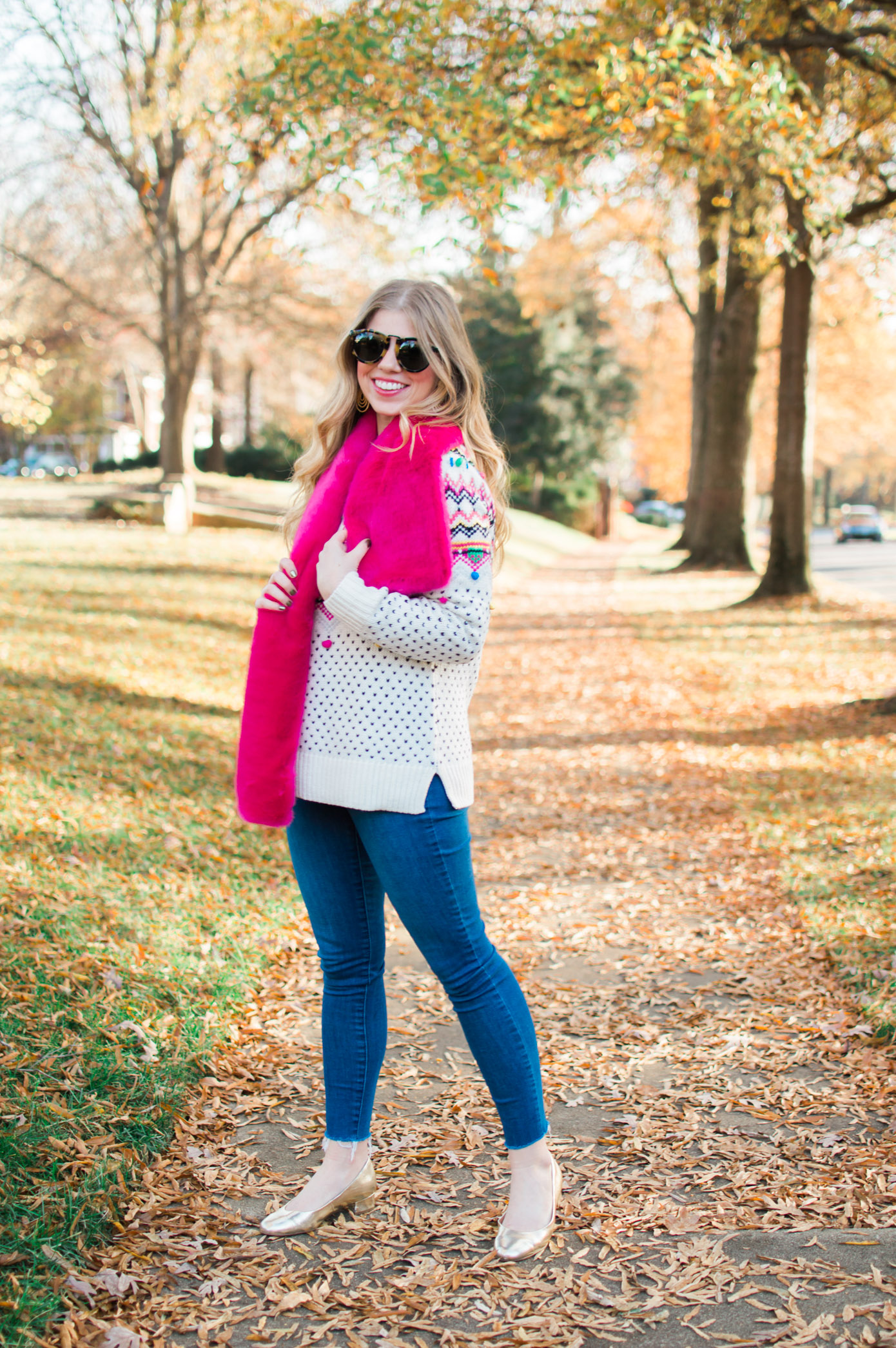 Colorful Fair Isle Sweater | Faux Fur Stole | Winter Wardrobe Must Haves | Louella Reese Life & Style Blog