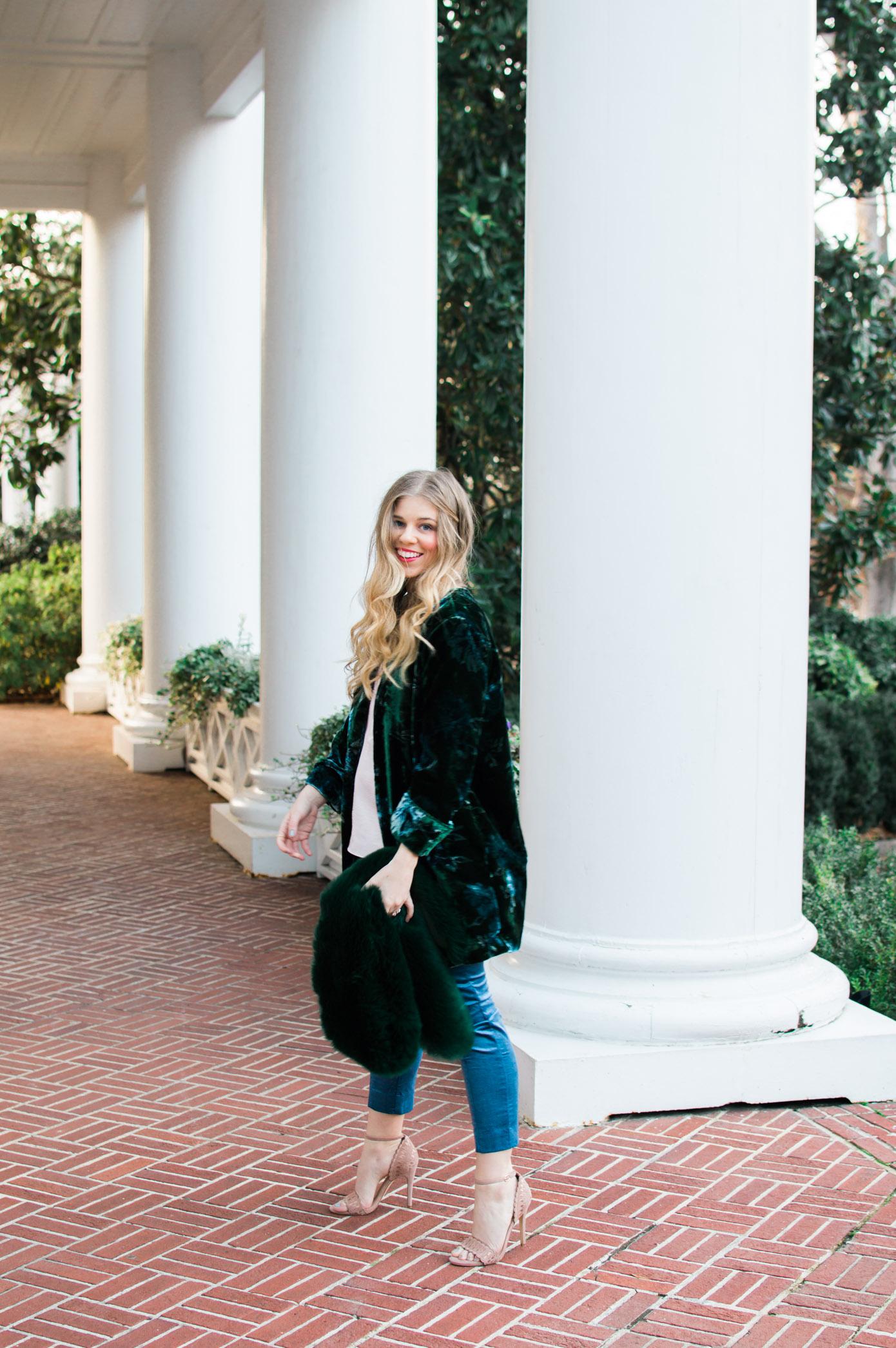 Winter Trends | Faux Fur Stole | Velvet Blazer | Louella Reese Life & Style Blog