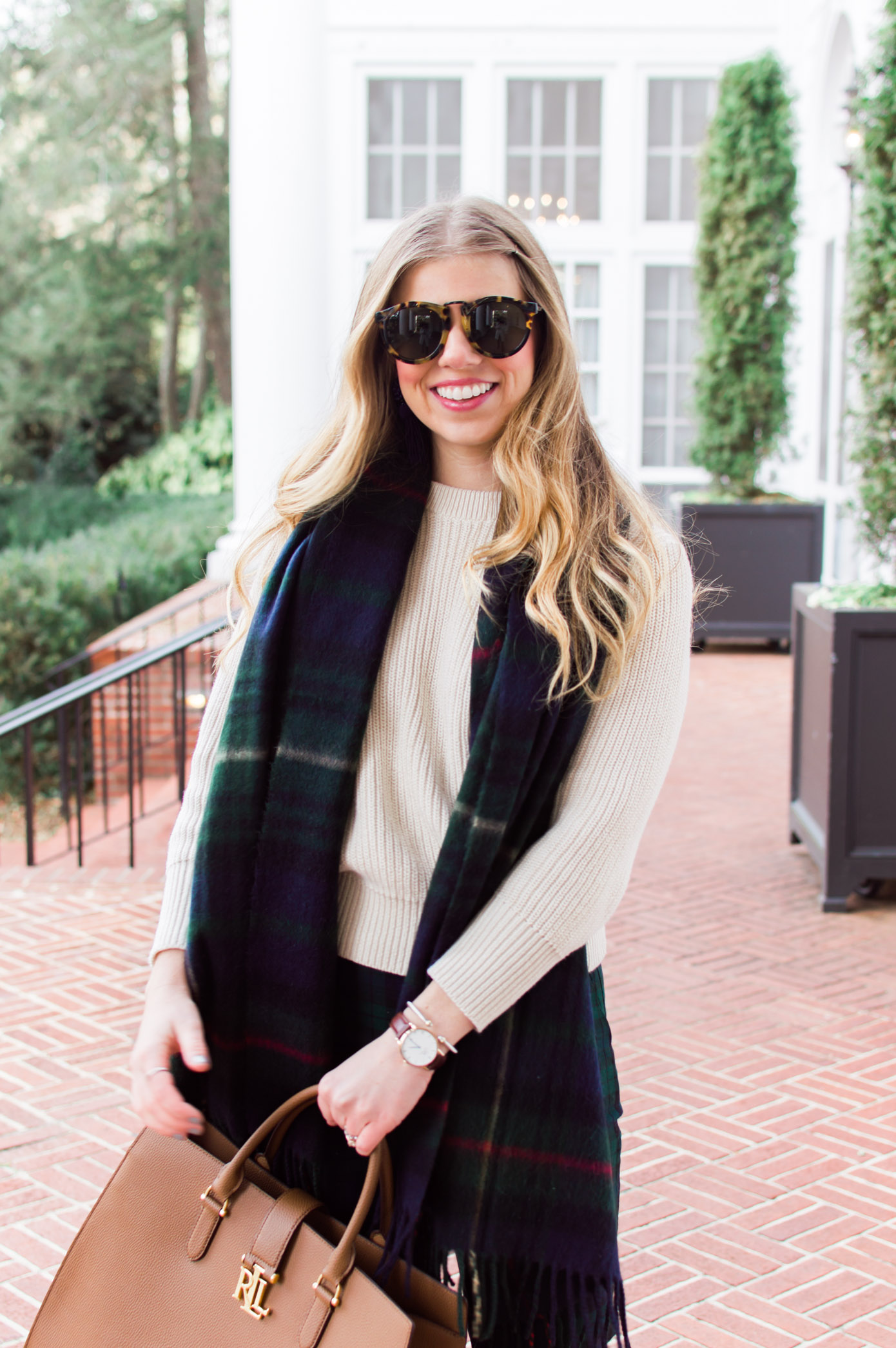 Plaid Scarf | 10 Ways to Mix Patterns Like a Fashion Blogger | Louella Reese Life & Style Blog