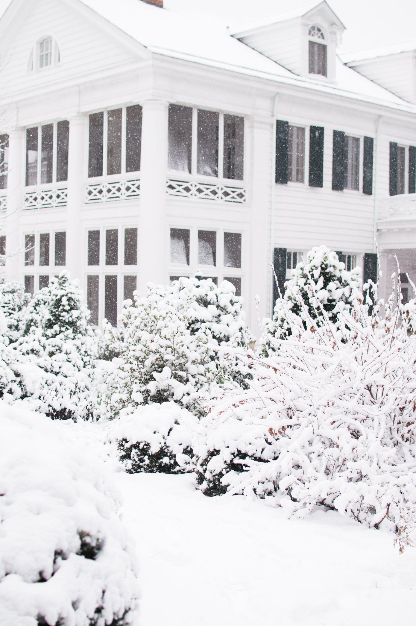 Charlotte Snow Day | Snow Covered Duke Mansion, Charlotte, NC | Louella Reese Life & Style Blog