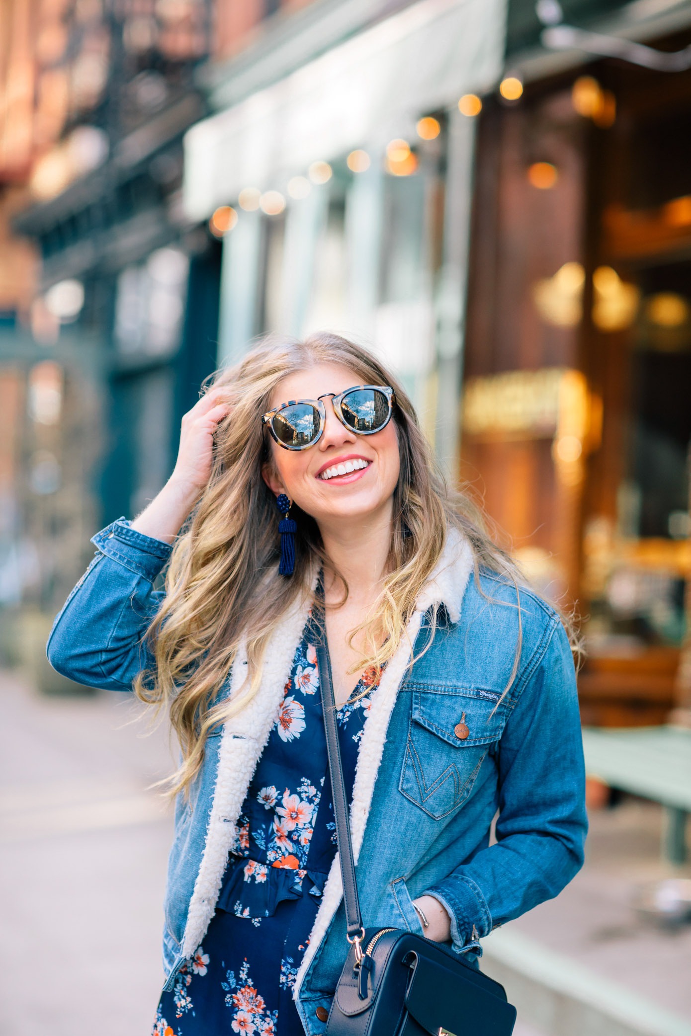 How to Wear Your Spring Dresses Now | Sherpa Lined Denim Jacket | Louella Reese Life & Style Blog