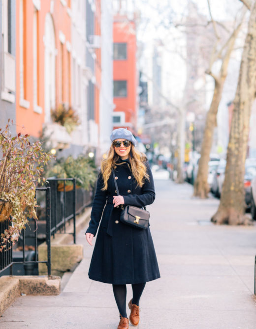 Navy Wool Trench Coat   How to Dress Like a Parisian this Winter   Louella Reese Life & Style Blog
