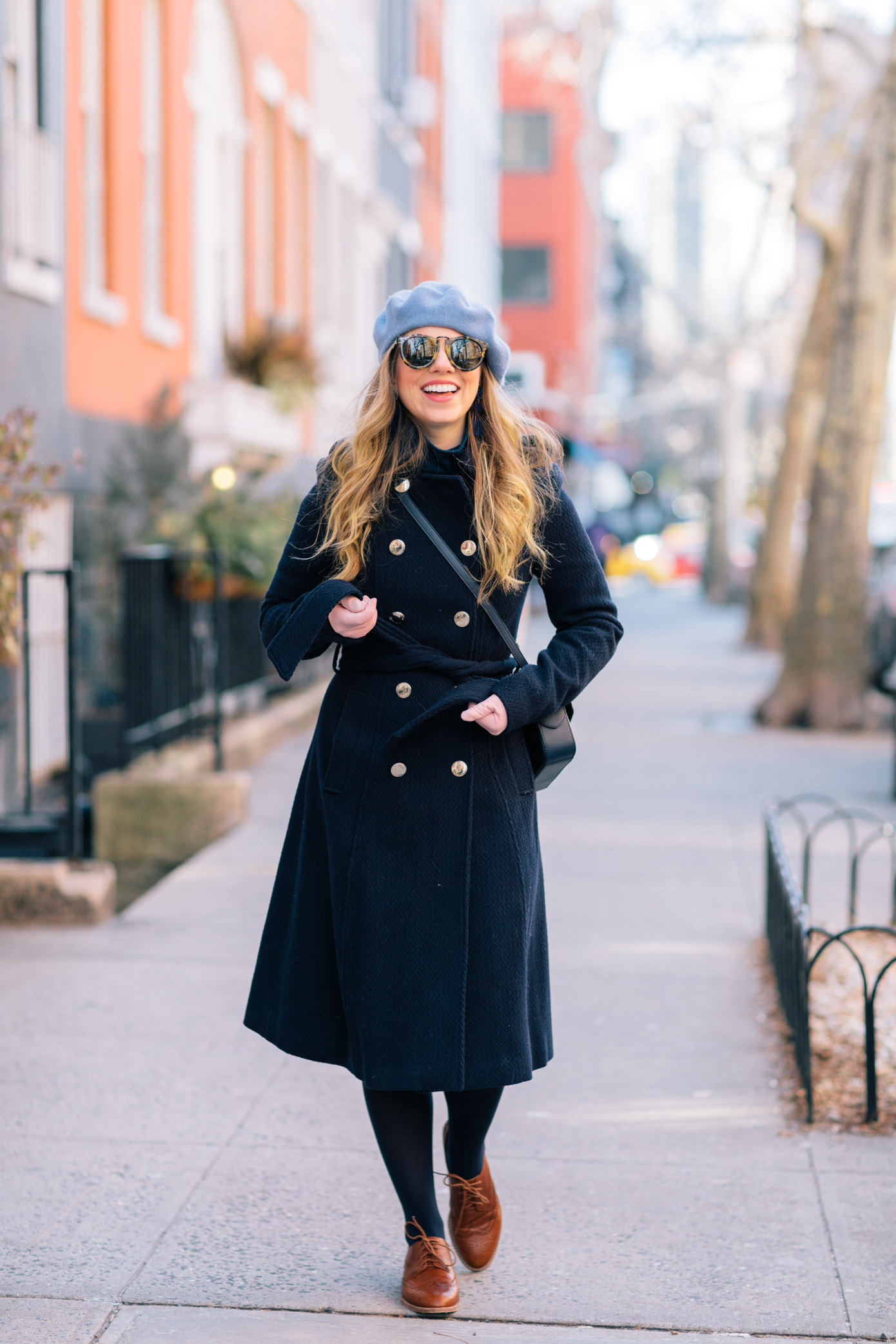 Navy Wool Trench Coat | How to Dress Like a Parisian this Winter | Louella Reese Life & Style Blog