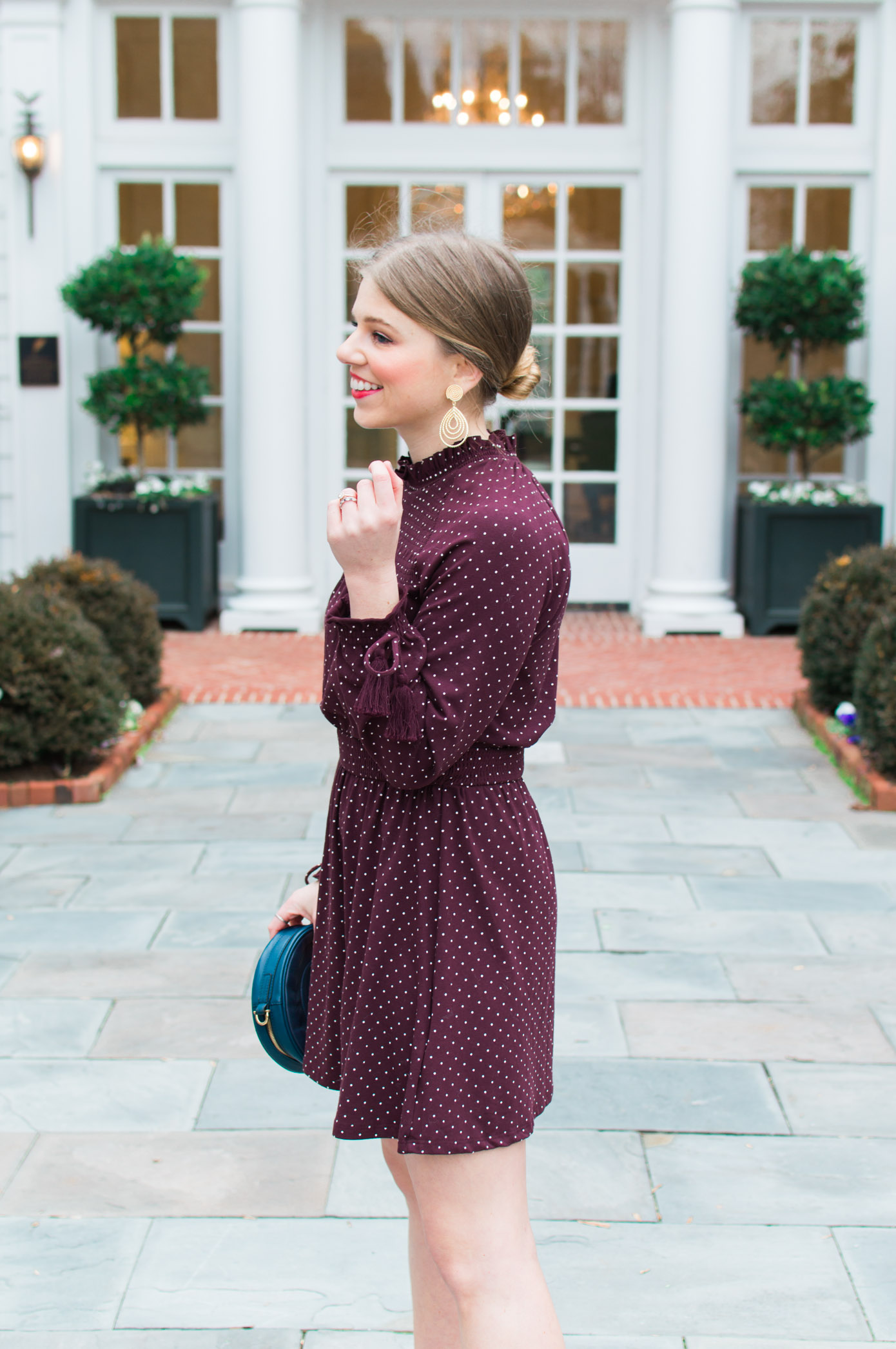 Polka Dot Mini Dress | Chic Winter Date Night Look | Louella Reese Life & Style Blog