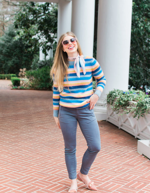 Feminine Rainbow Stripe Sweater | Must Have Winter Sweater | Louella Reese Life & Style Blog