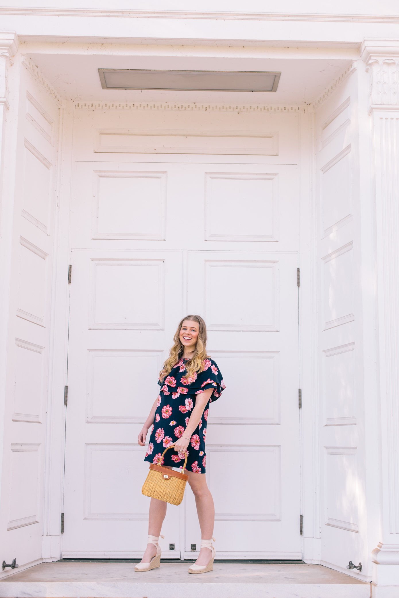 Navy and Pink Floral Off the Shoulder Dress | Easter Dresses under $75 | Louella Reese Life & Style Blog