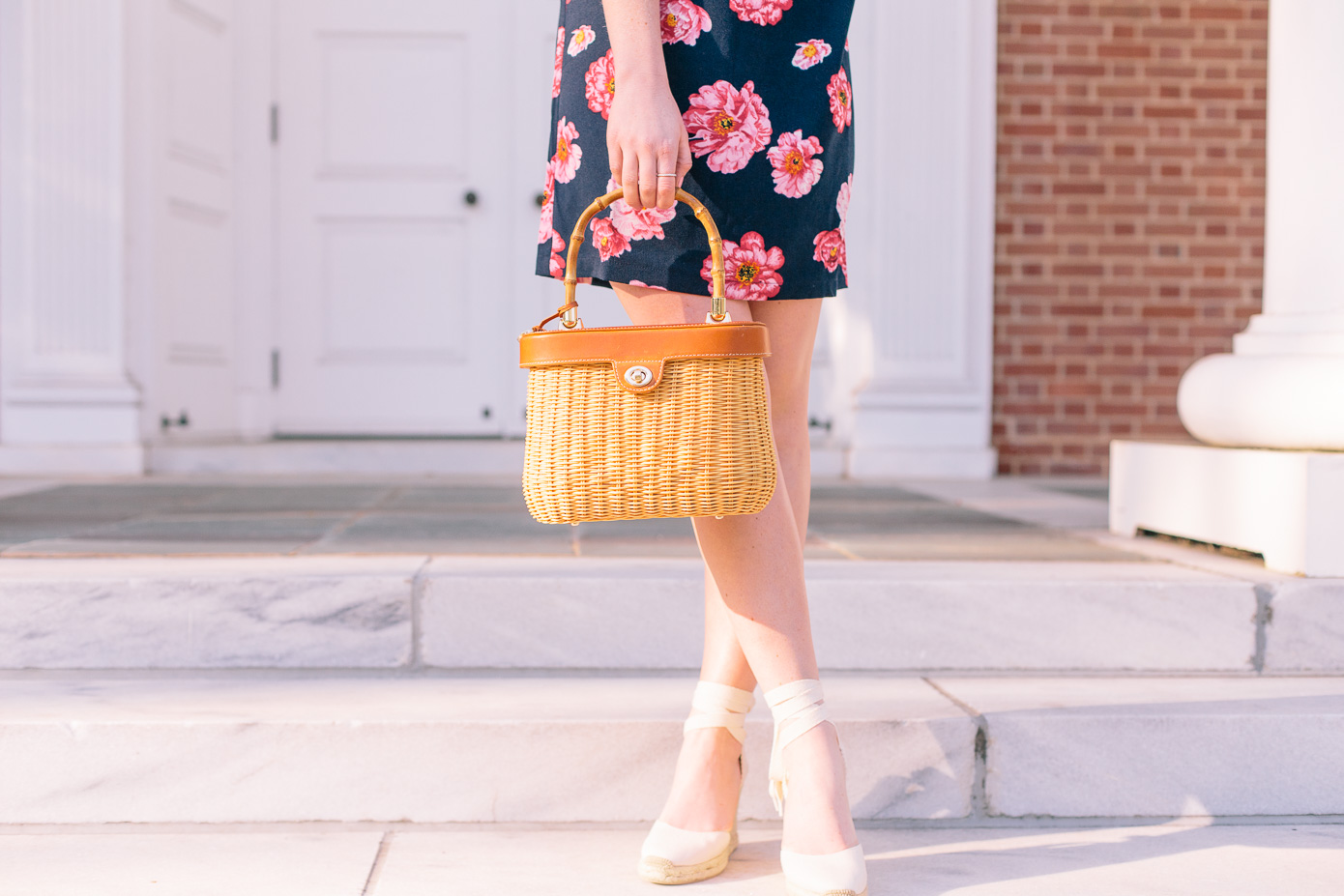 Navy and Pink Floral Off the Shoulder Dress + Basket Bag | Louella Reese Life & Style Blog