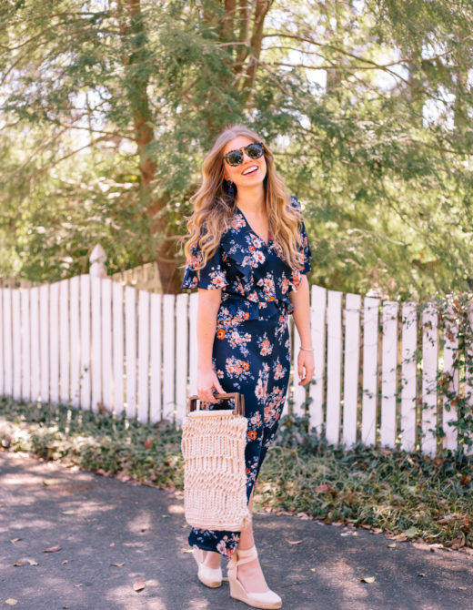 Navy Floral Maxi Dress for Spring | Louella Reese Life & Style Blog