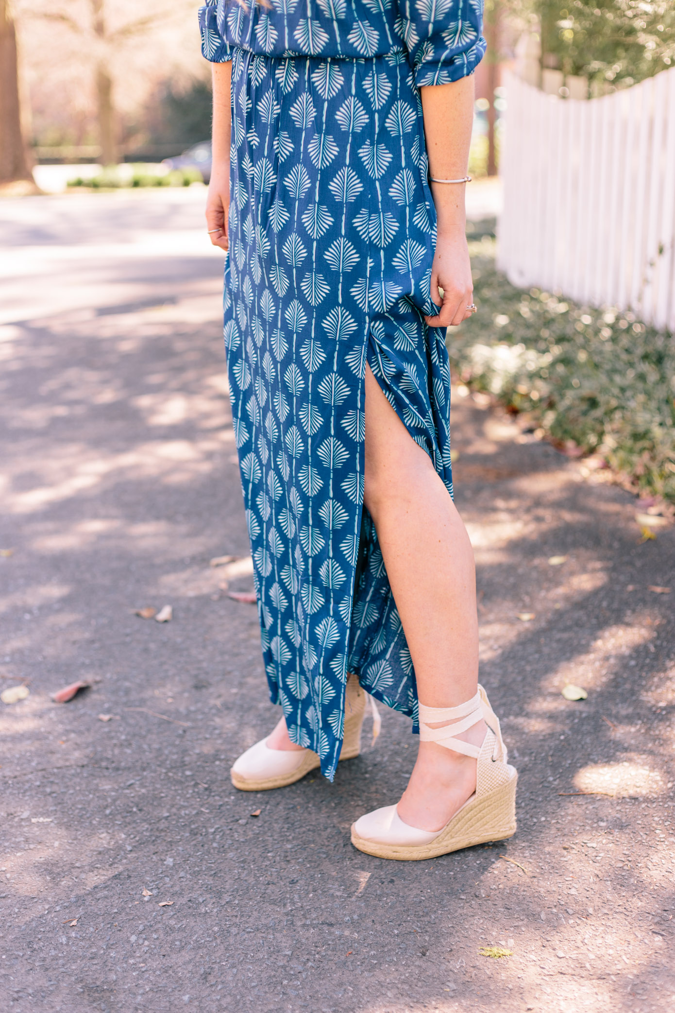 What to Wear on Spring Break | Blue Off the Shoulder Maxi Dress | Louella Reese Life & Style Blog