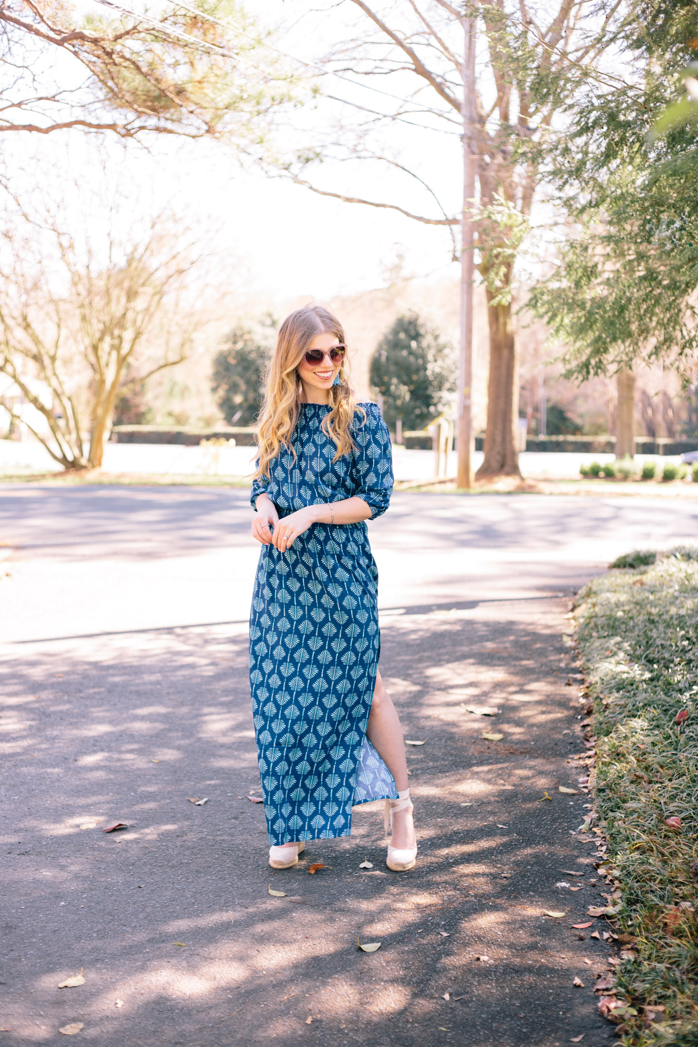 Blue Maxi Dress for Spring Break | Louella Reese Life & Style Blog