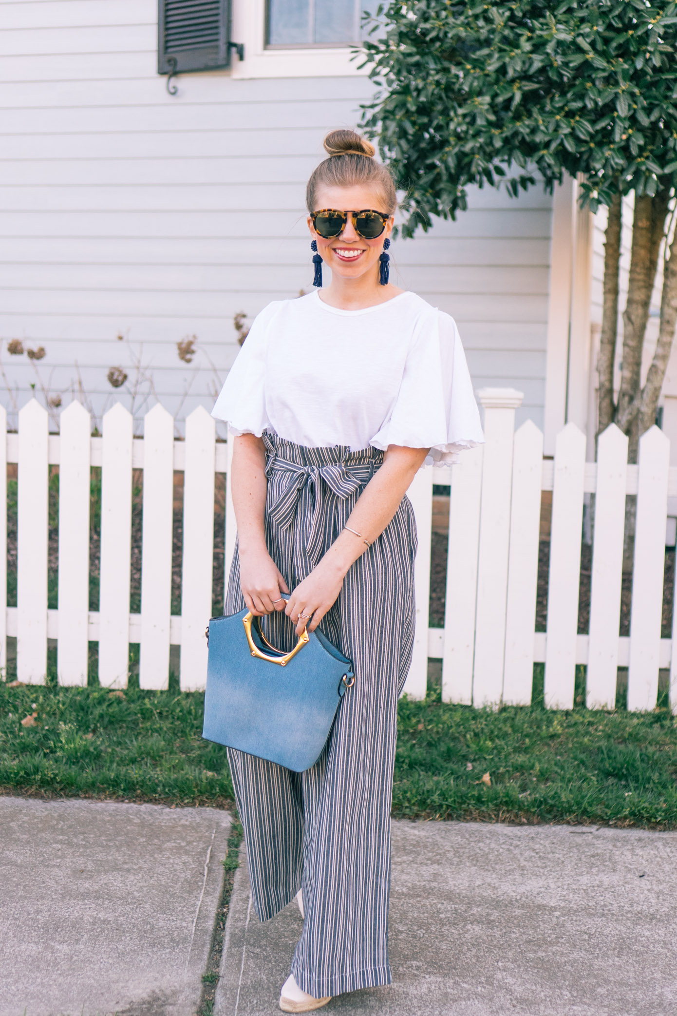 Stripe Wide Leg Pants | Spring Trends | Louella Reese Life & Style Blog