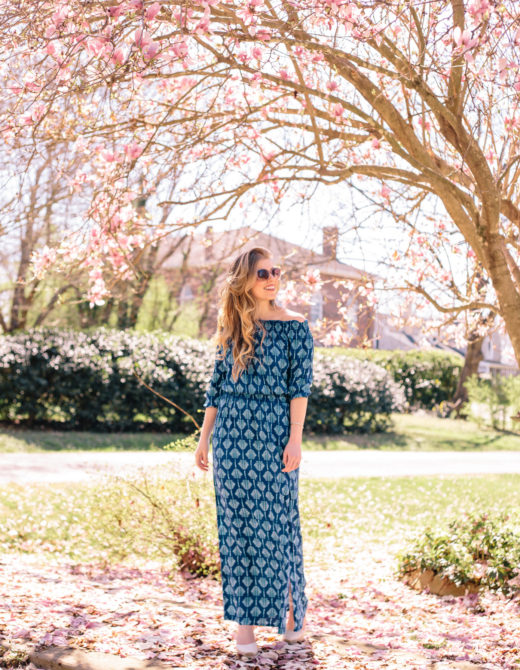 Blue Off the Shoulder Maxi Dress for Spring | Louella Reese Life & Style Blog