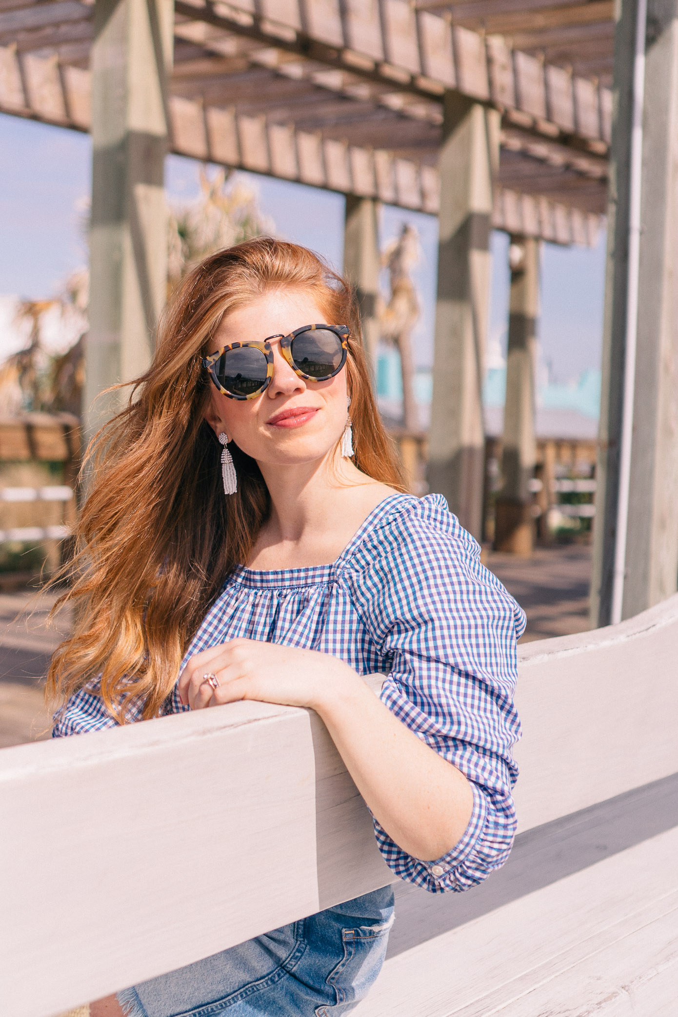 Denim Skirt under $60 | Gingham Blouse for Spring | Louella Reese Life & Style Blog