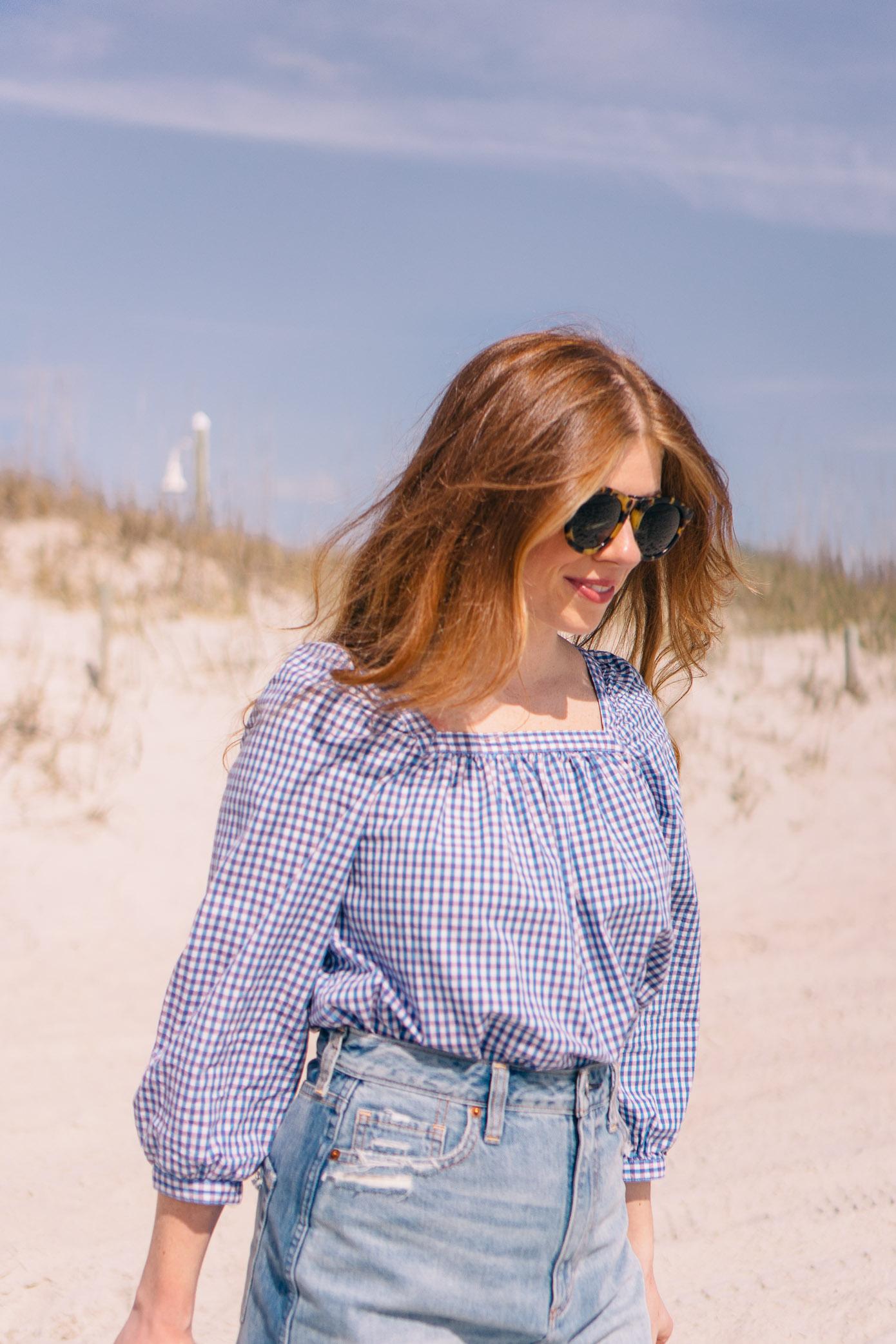 Denim Skirt under $60 | Gingham Blouse for Spring | Louella Reese Life & Style Blog