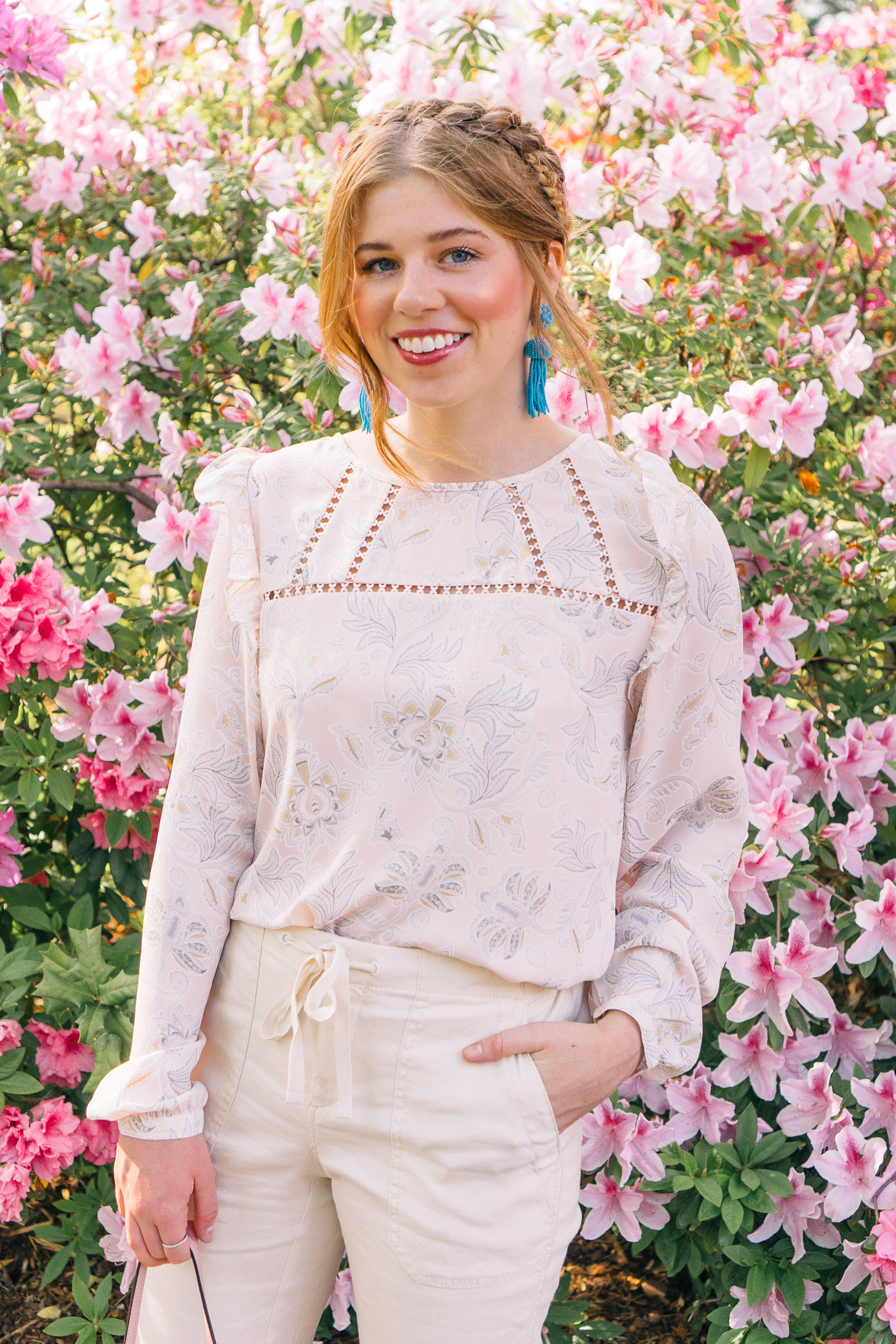 Feminine Floral Blouse, Perfect Linen Pants for Spring, Milkmaid Braid | Louella Reese Life & Style Blog