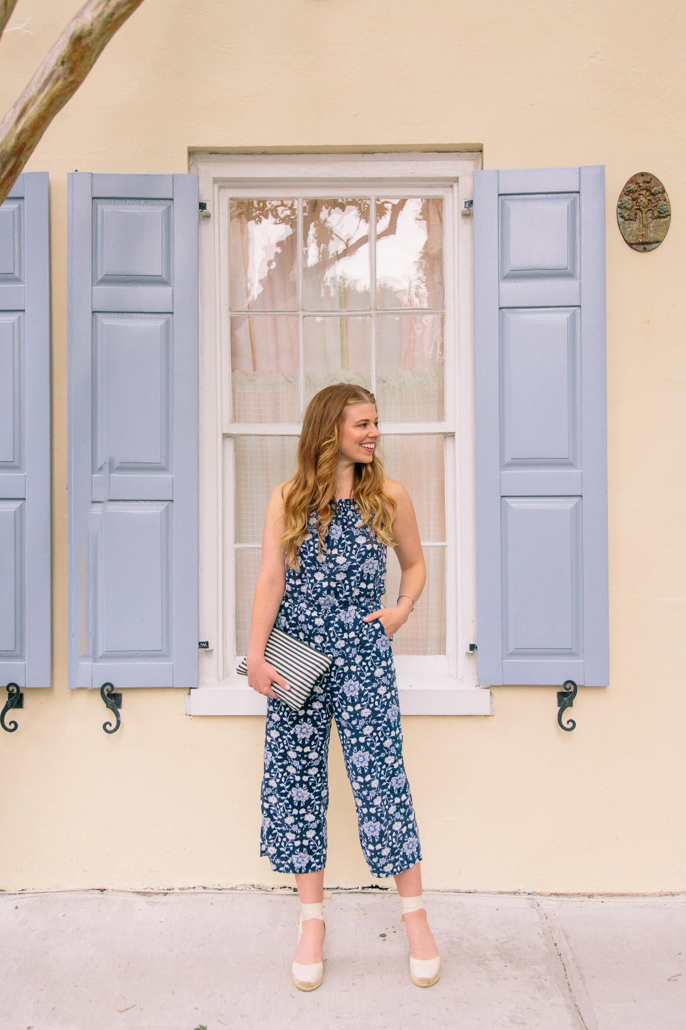 Comfy Navy Floral Jumpsuit for Summer | Jumpsuit under $50 | Louella Reese Life & Style Blog