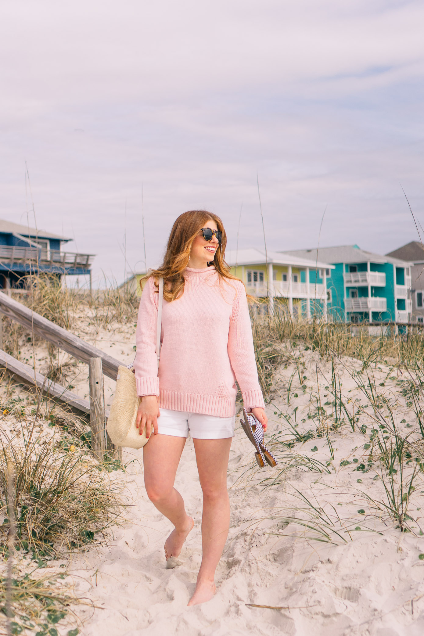 Pink Lightweight Beach Sweater | Preppy Beach Style | Louella Reese Life & Style Blog