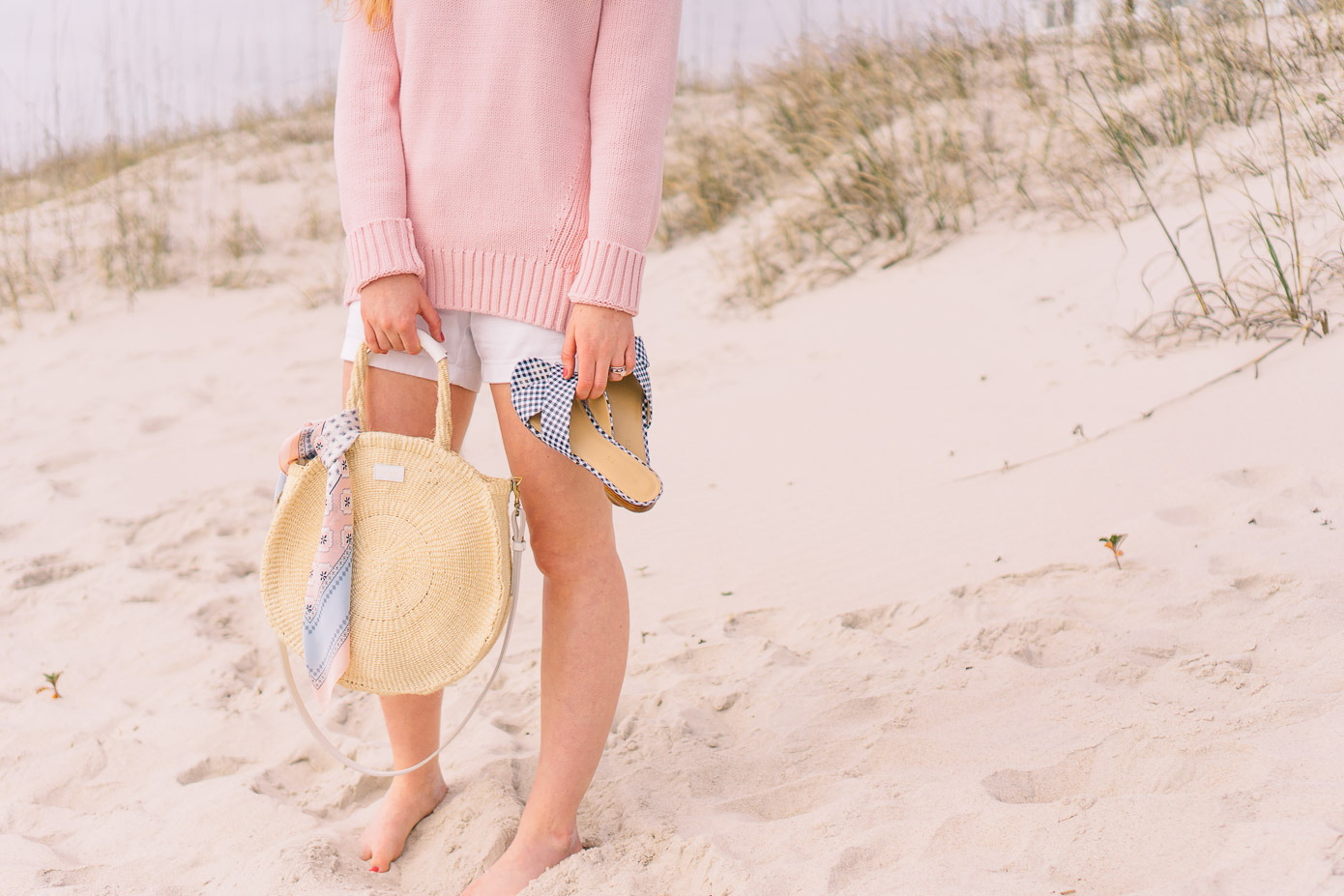 Pink Lightweight Beach Sweater | Clare V. Alice Straw Tote | Louella Reese Life & Style Blog
