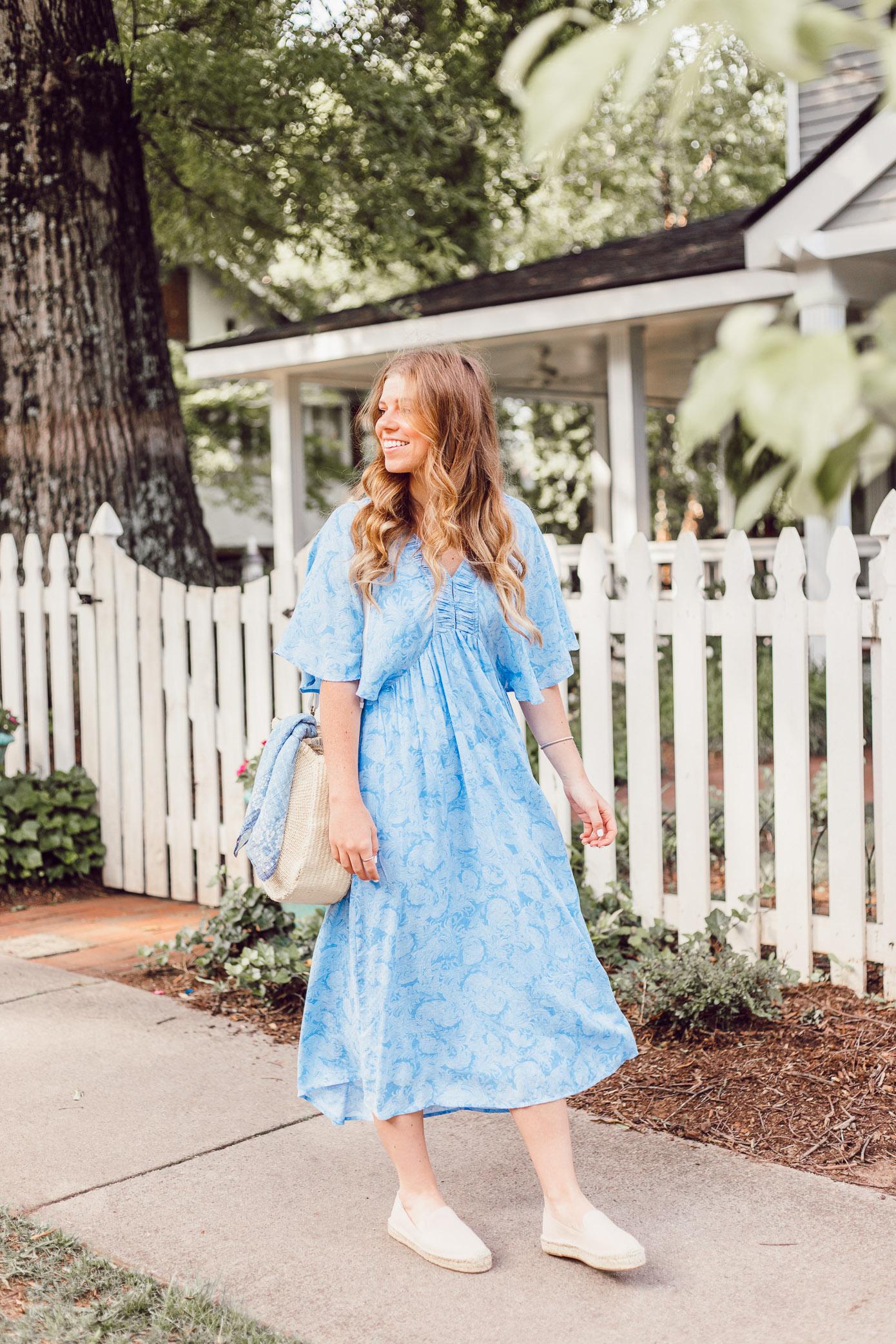 Easy Summer Dresses | Blue Kimono Dress for Summer styled on Louella Reese