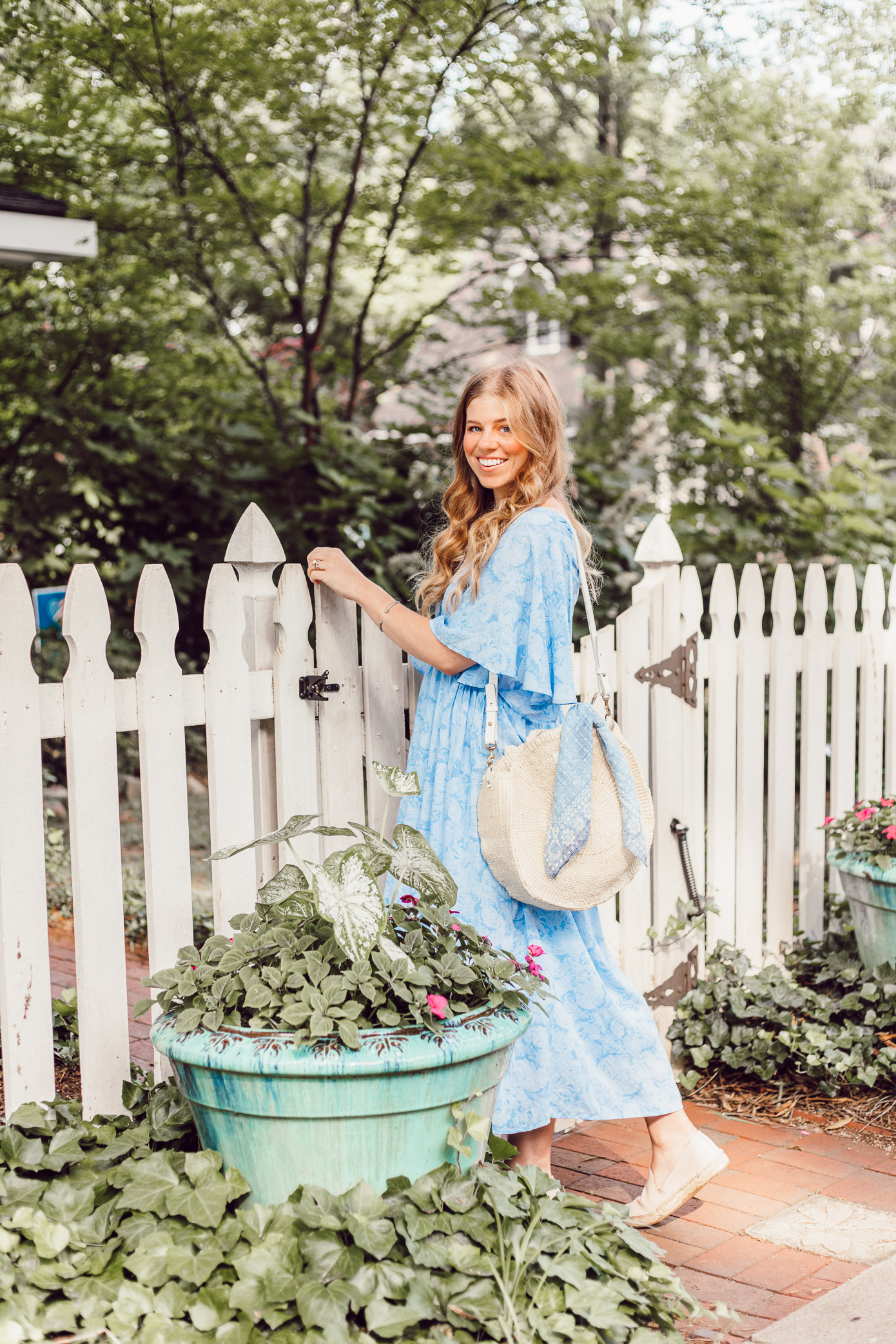 Breezy Summer Dresses | Blue Kimono Dress for Summer styled on Louella Reese