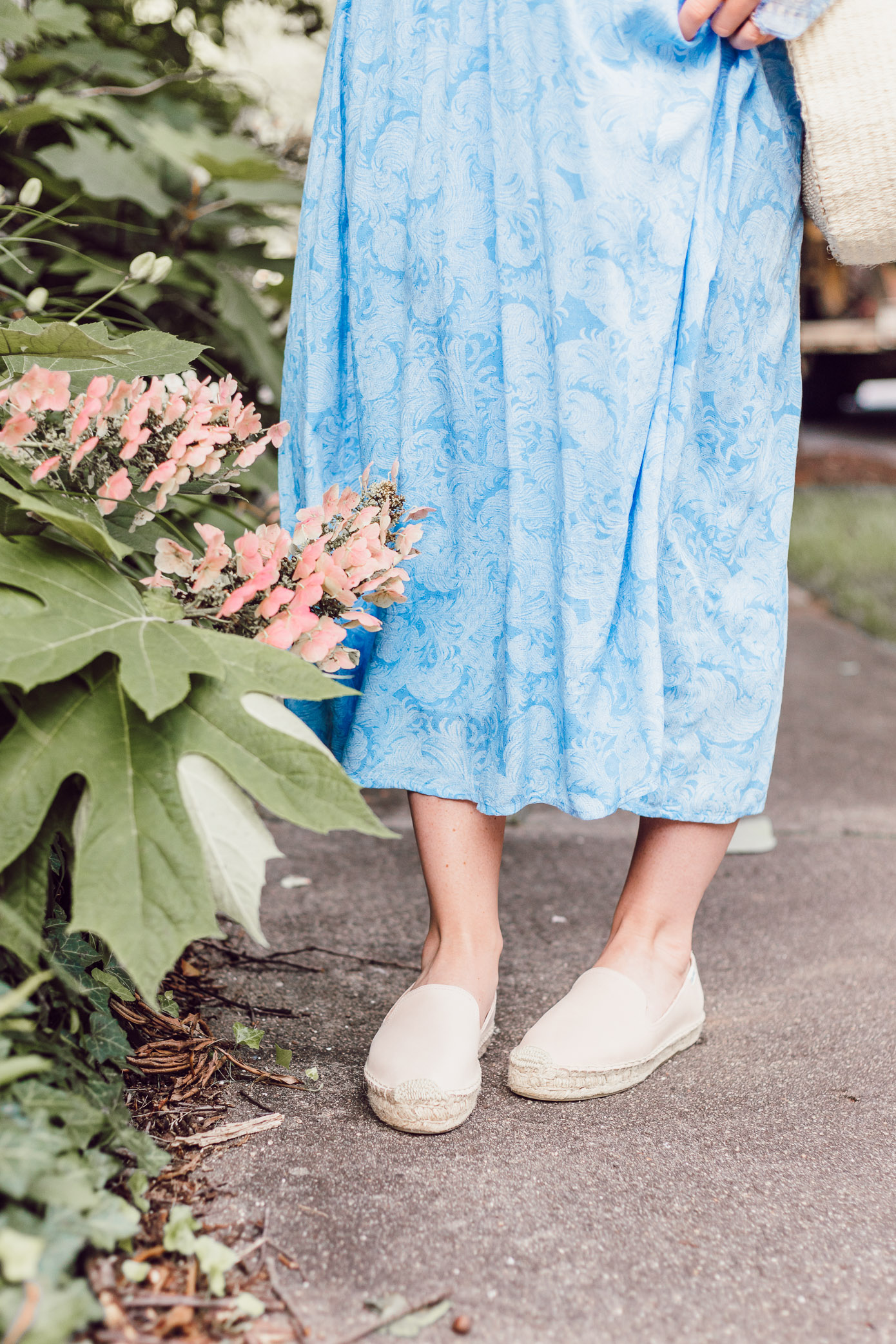Soludos Espadrille Smoking Slippers | Blue Kimono Dress for Summer styled on Louella Reese